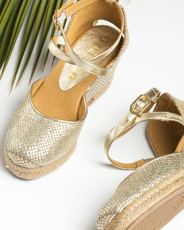 UNISA Goldene Espadrilles in Kroko-Optik CADMIEL_RL_LMT platino 5