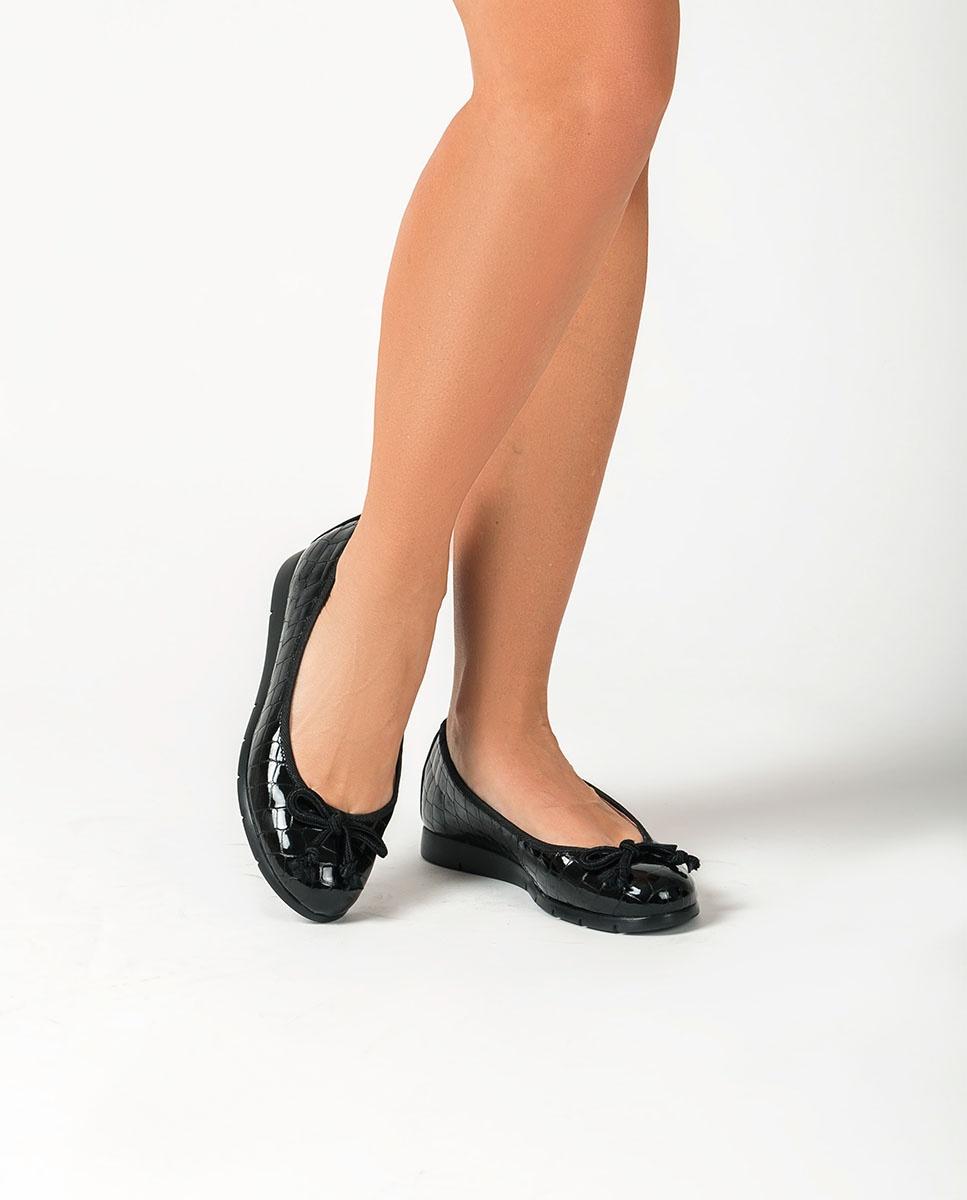 UNISA Lackleder-Ballerinas in Kroko-Optik ALCOT_F20_CSH black 5