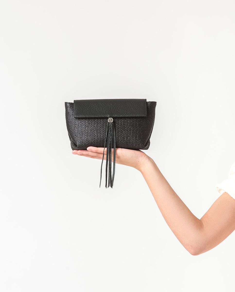 UNISA Schwarze Mini-Umhängetasche aus Raffiabast ZALESKA_MM_ROP black 5