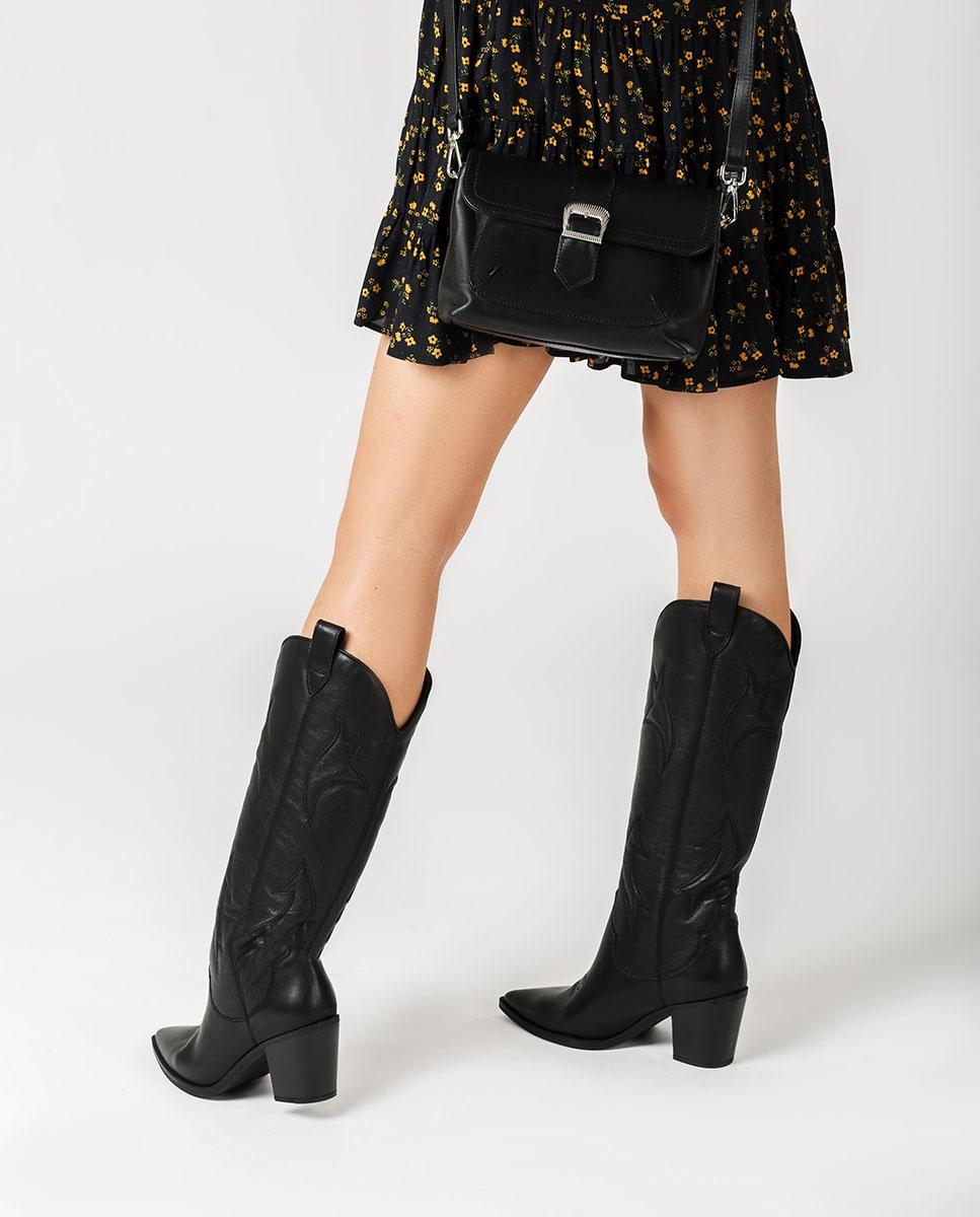 UNISA Handtasche aus Leder mit Schulterriemen ZDILAN_NT black 5