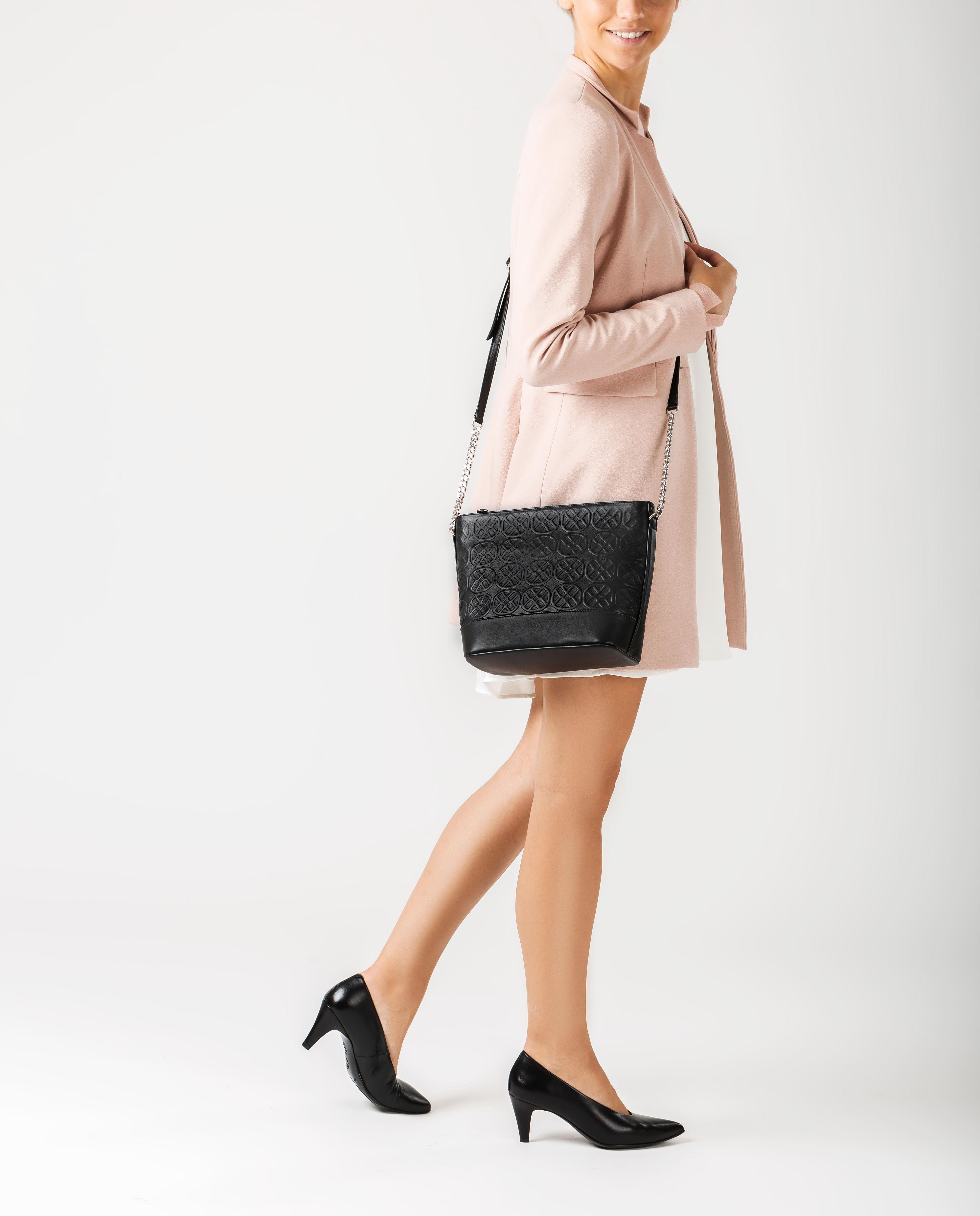 UNISA Tasche aus Leder mit Monogramm-Verzierung ZDOR_NT black 5