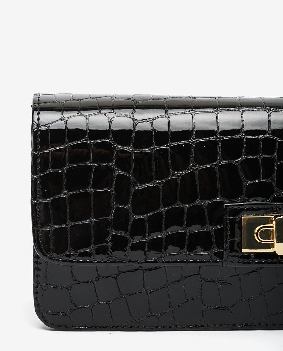 UNISA Handtasche aus Lackleder in Kroko-Optik ZANASE_CSH black 5