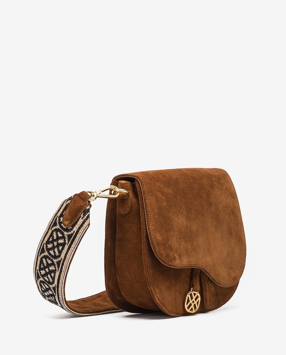 UNISA Handtasche aus Wildleder mit Schulterriemen und Unisa-Logo ZFUSO_BS_MON wonka 5
