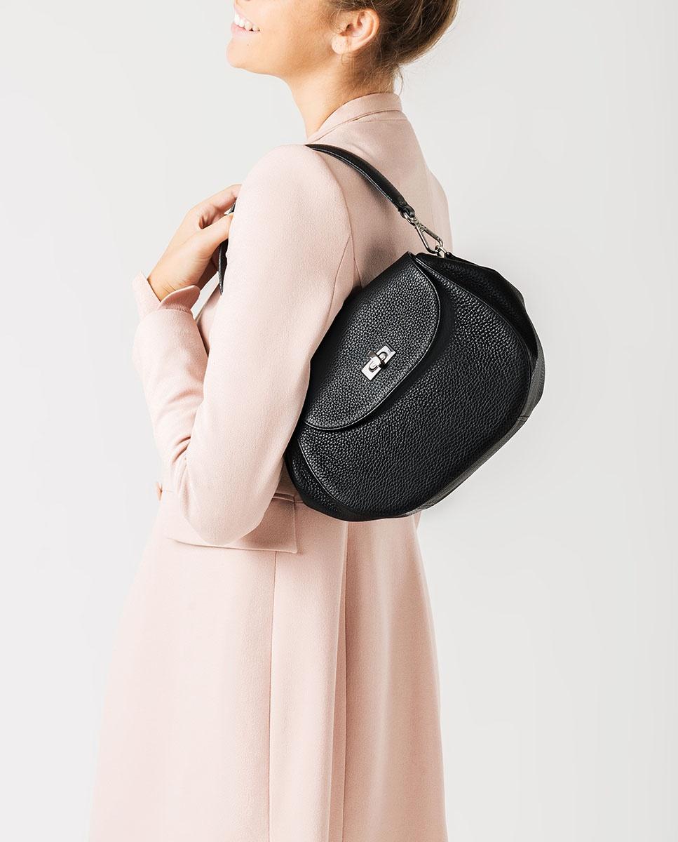 UNISA Schultertasche aus Leder ZGRAPON_MM black 5