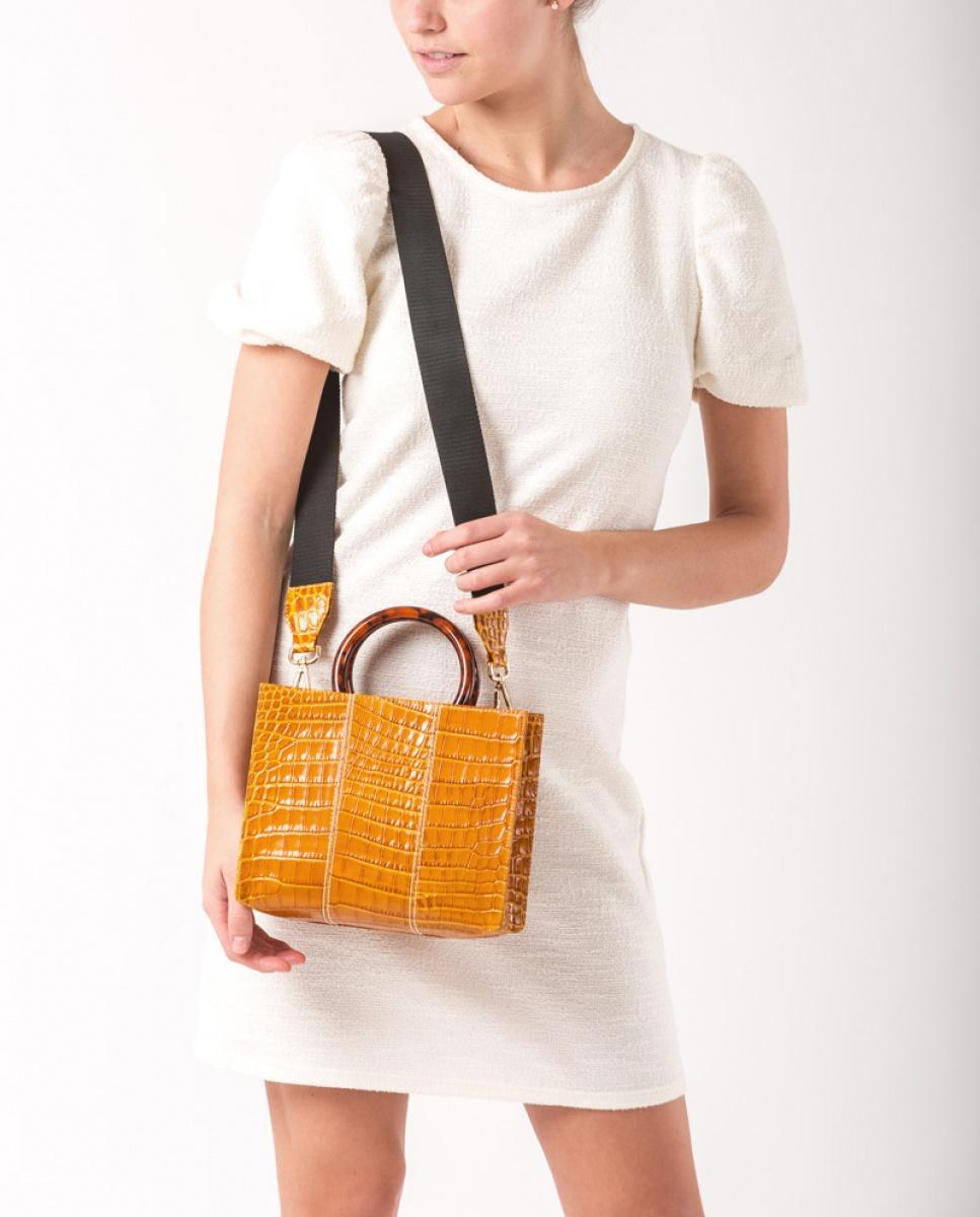 UNISA Handtasche mit Kroko-Optik ZKAISSY_CRW mustard 5