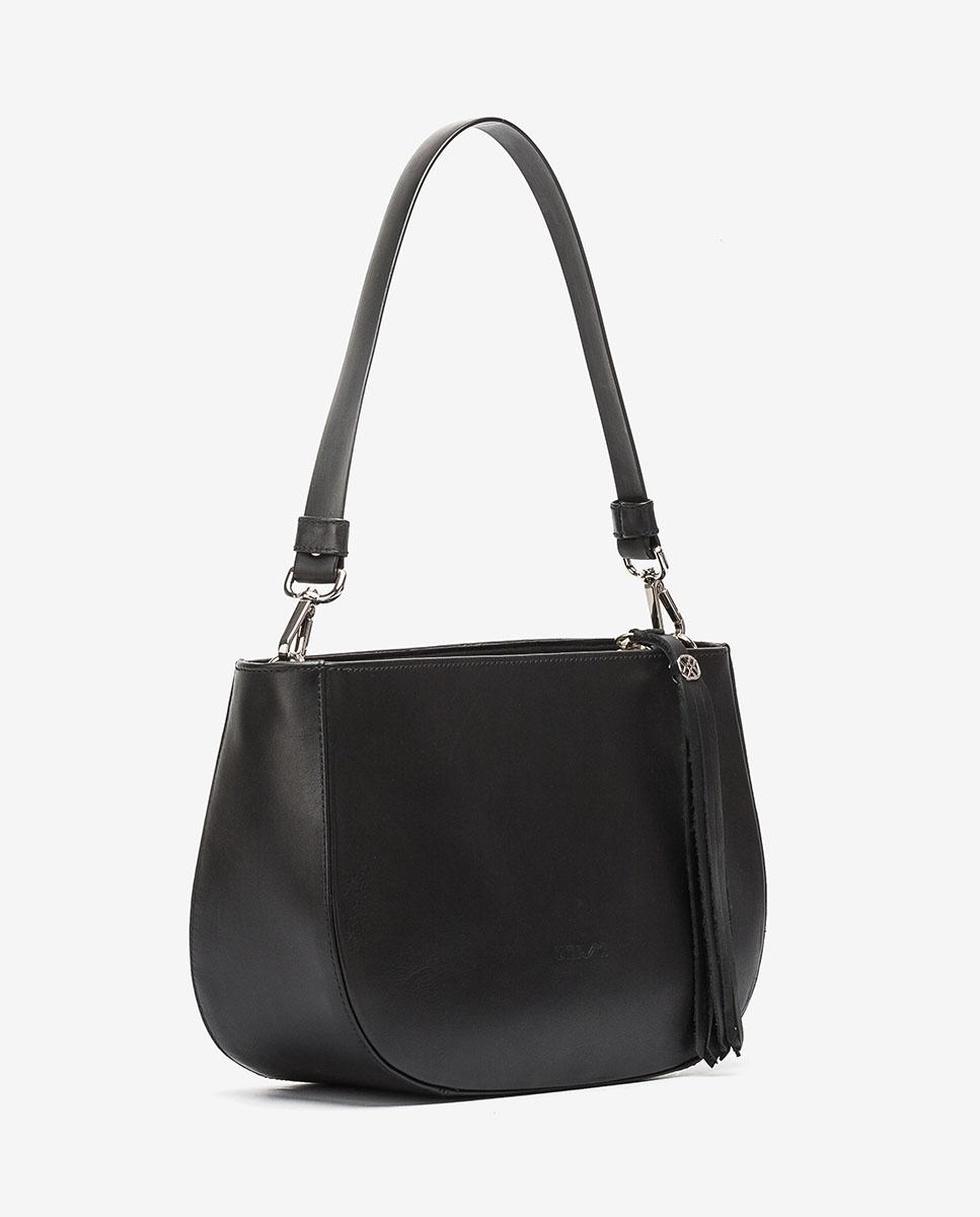 UNISA Kleine Handtasche mit Lederfransenband ZLANDO_NT black 5