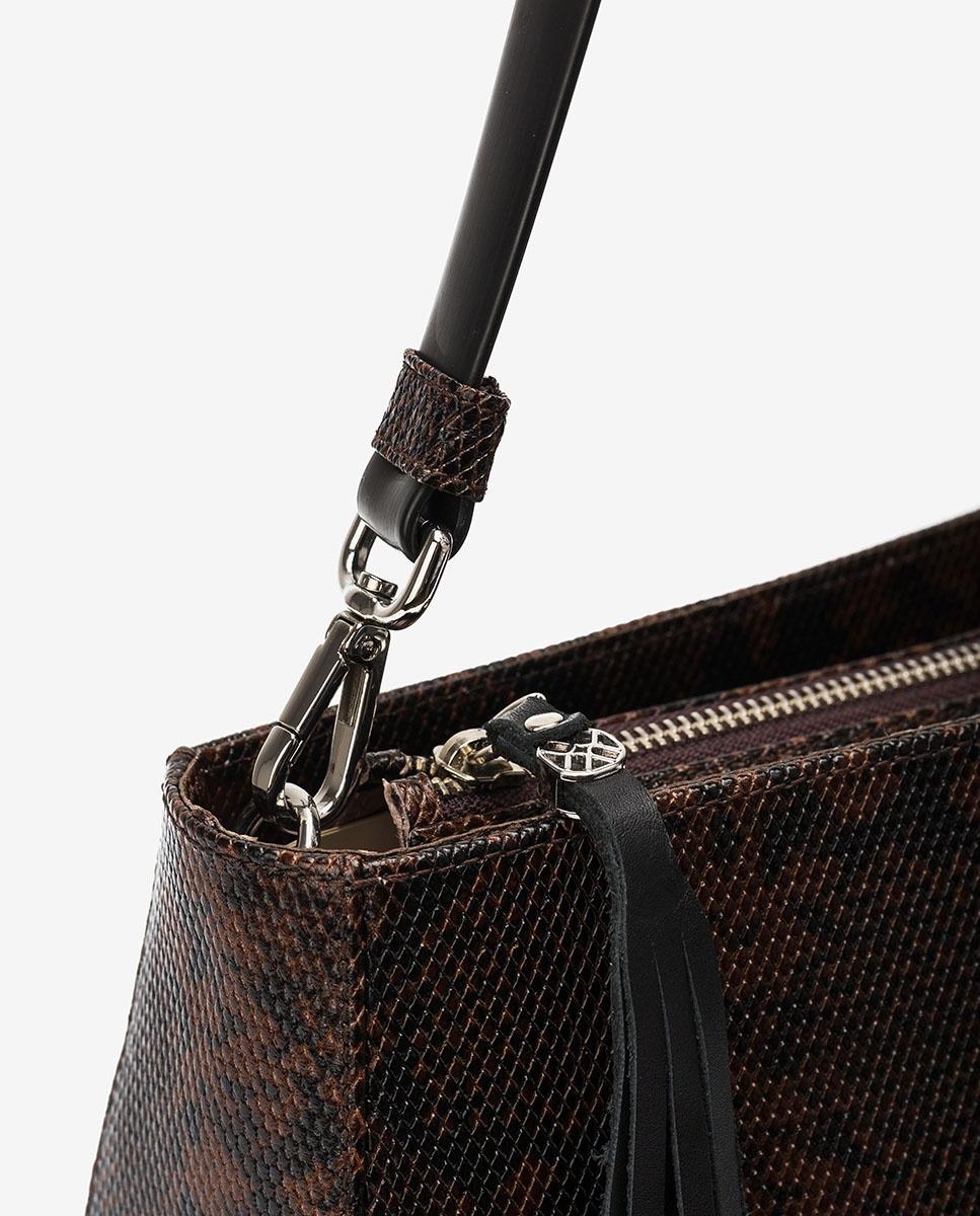 UNISA Handtasche mit Schlangenprägung und Lederfransenband ZLANDO_VIP fondant 5