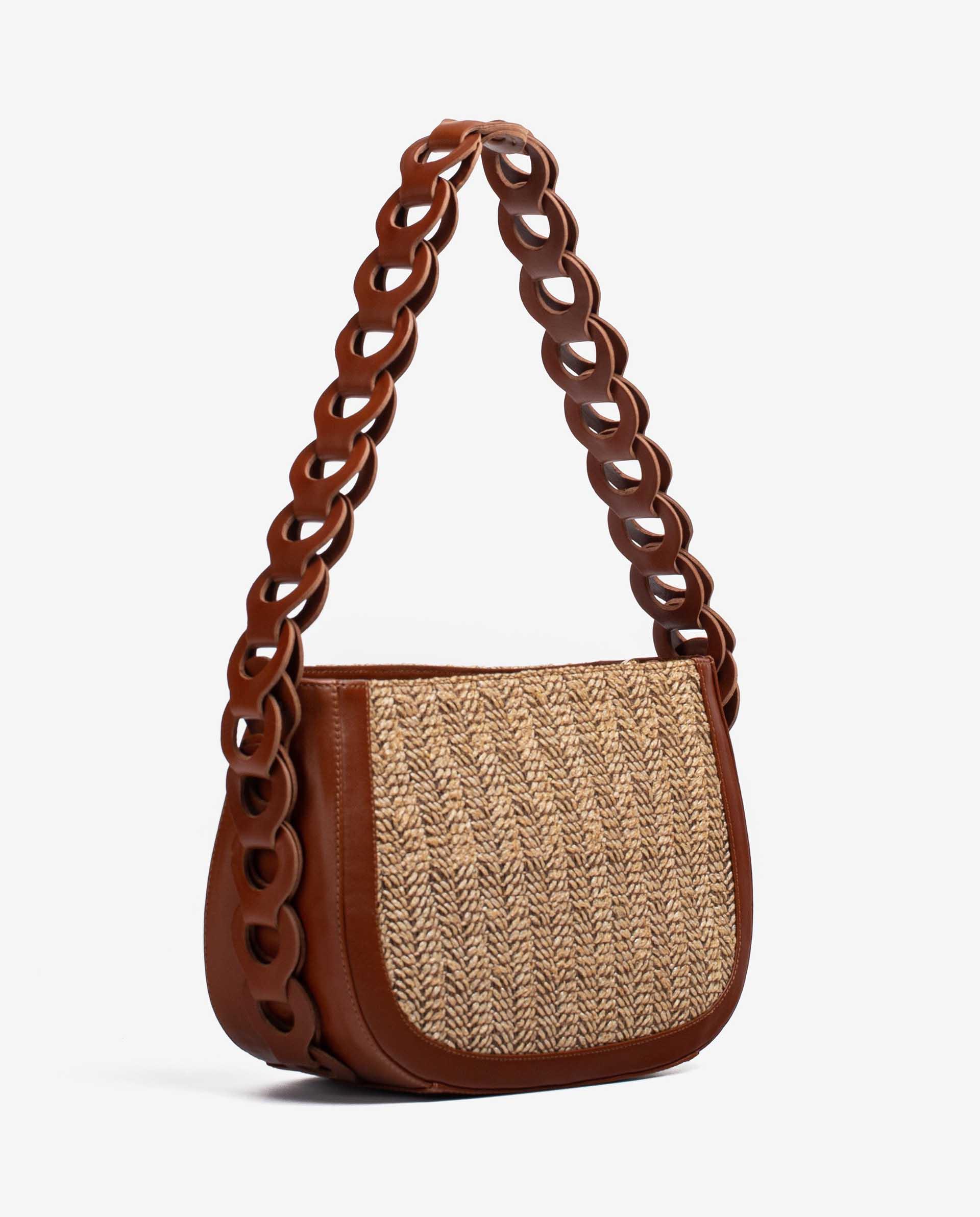UNISA Tasche aus Leder und Raffiabast mit geflochtenem Umhängeriemen ZLYRIS_VU_RES 5