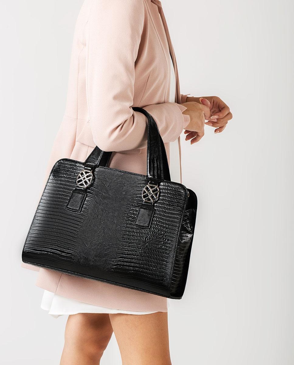 UNISA Mittelgroße Tasche mit Schlangenprägung ZNANA_LU black 5