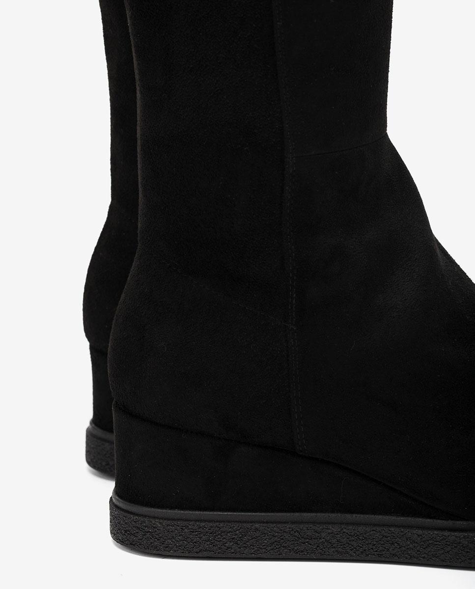 UNISA Schwarze elastische Stiefel mit Keilsohle JEACON_ST black 5