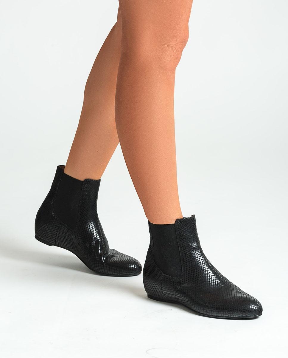 UNISA Schwarze Chelsea-Boots mit Snake-Print CEROME_STPY black 5