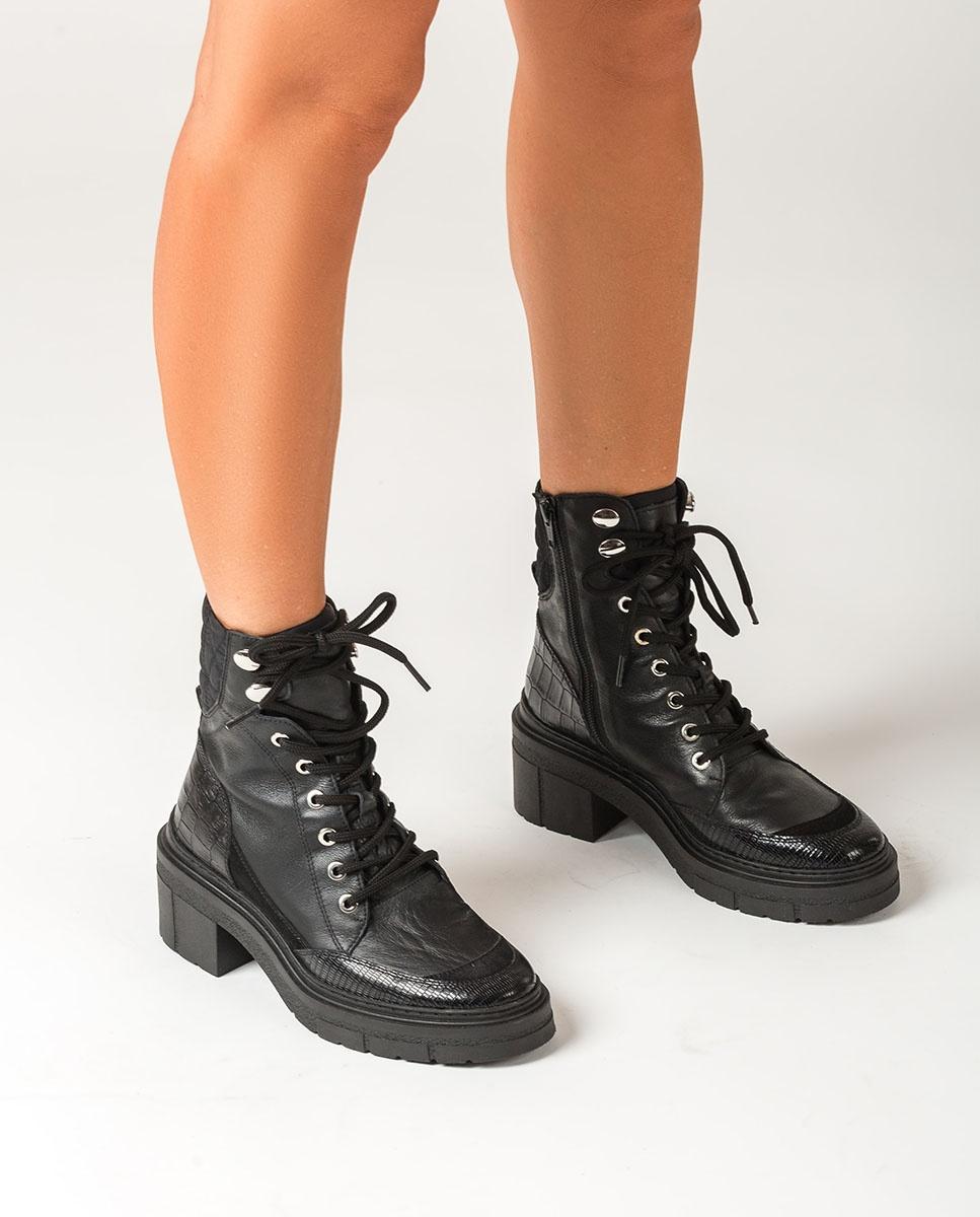 UNISA Schwarze Schnürstiefeletten mit Kontrasten JASON_CRE black 5