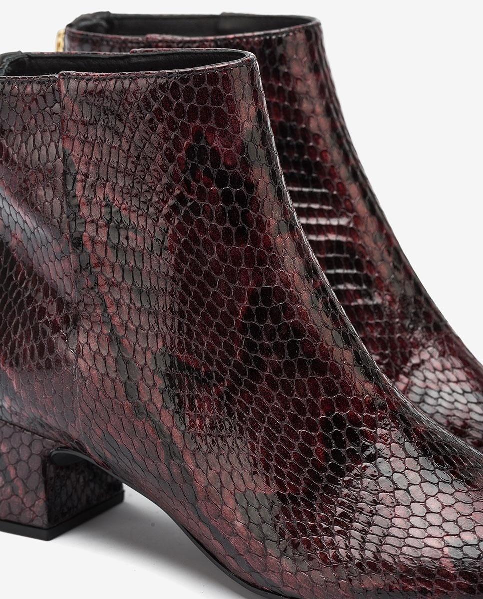 UNISA Bordeauxfarbene Stiefeletten mit Snake-Print LOLITA_VSH grape 5