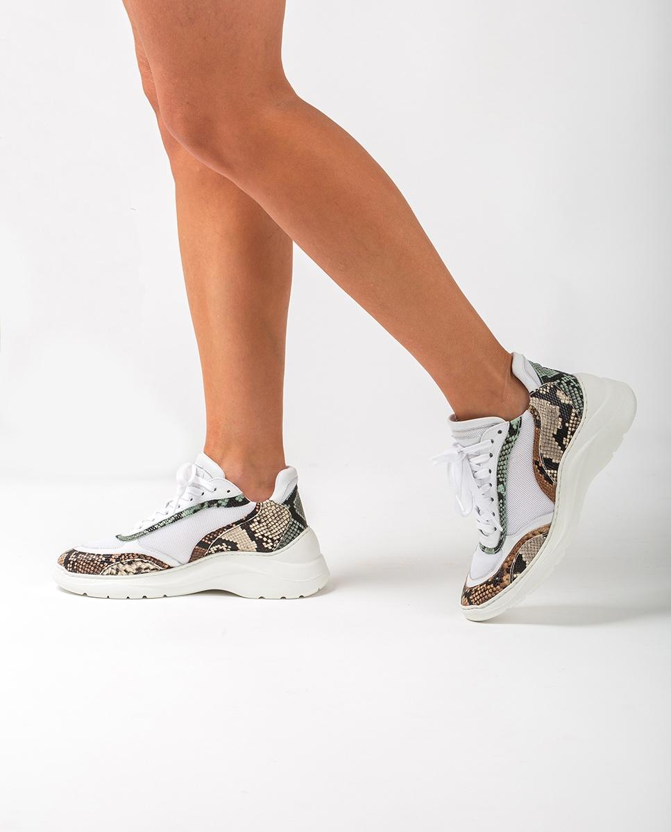 UNISA Voluminöse Sneaker mit Snake-Print ESCACE_20_VIP white/sunt 5