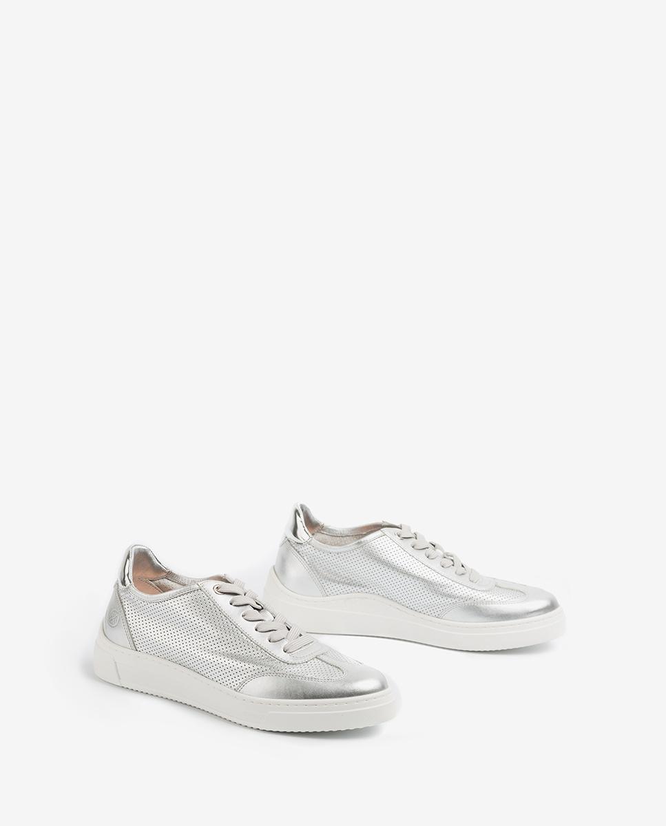 UNISA Sneaker aus gestanztem Leder mit Kontrasten FABIO_NF_SP silver 5