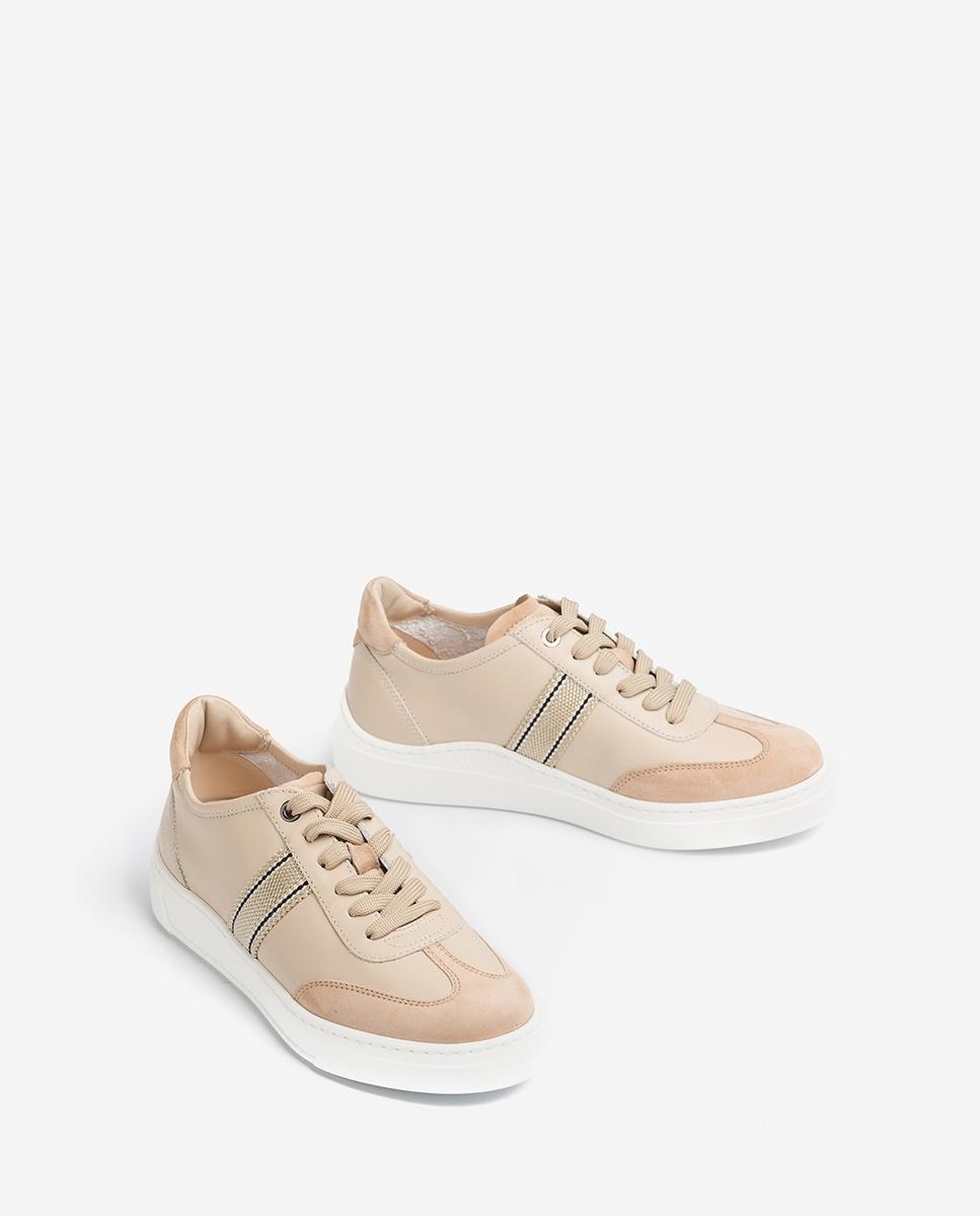 UNISA Leder-Sneaker mit breiten Stoffstreifen FELIU_NF skin/natur 5