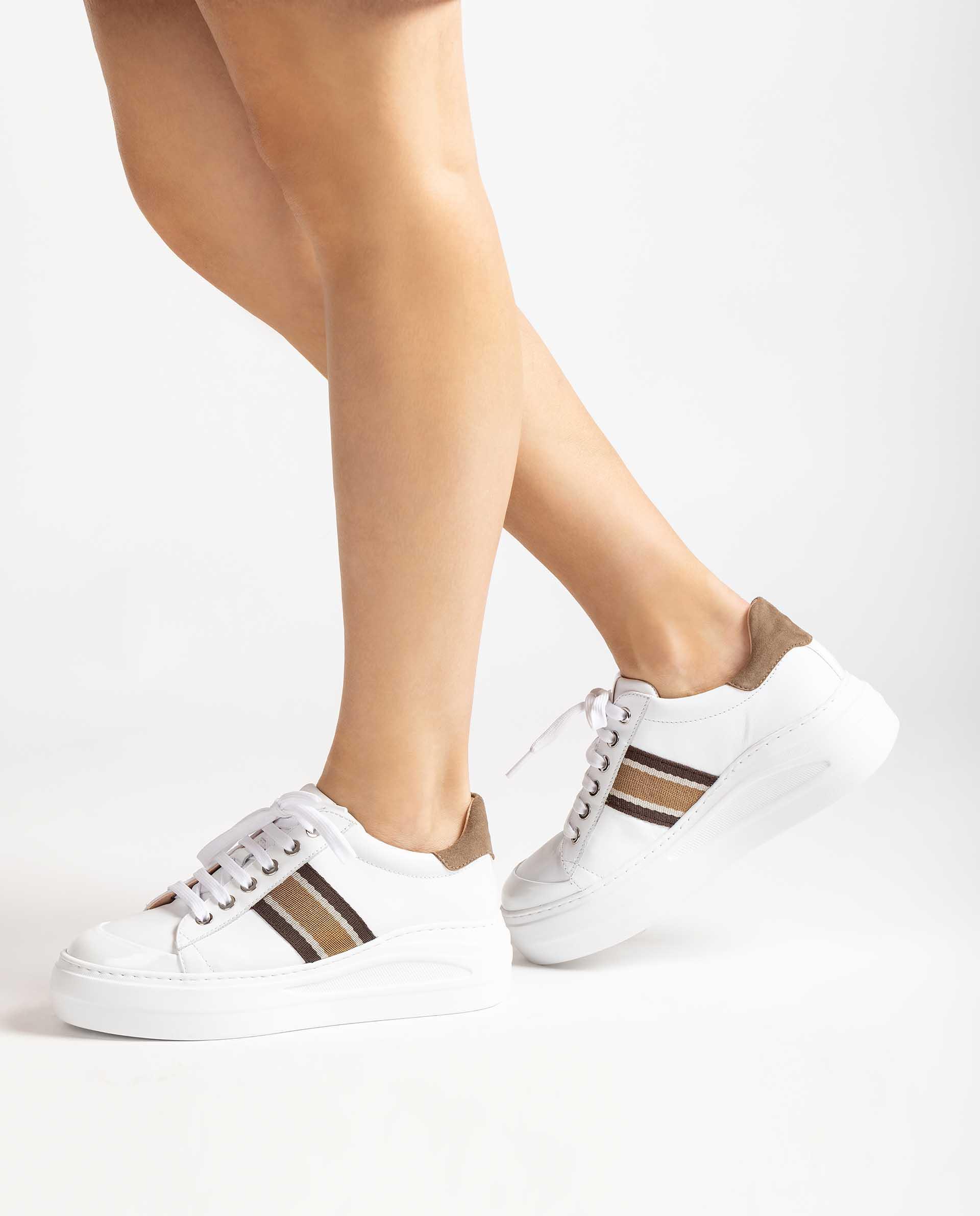 UNISA Leder-Sneaker mit buntem Streifen FRALI_NF 5