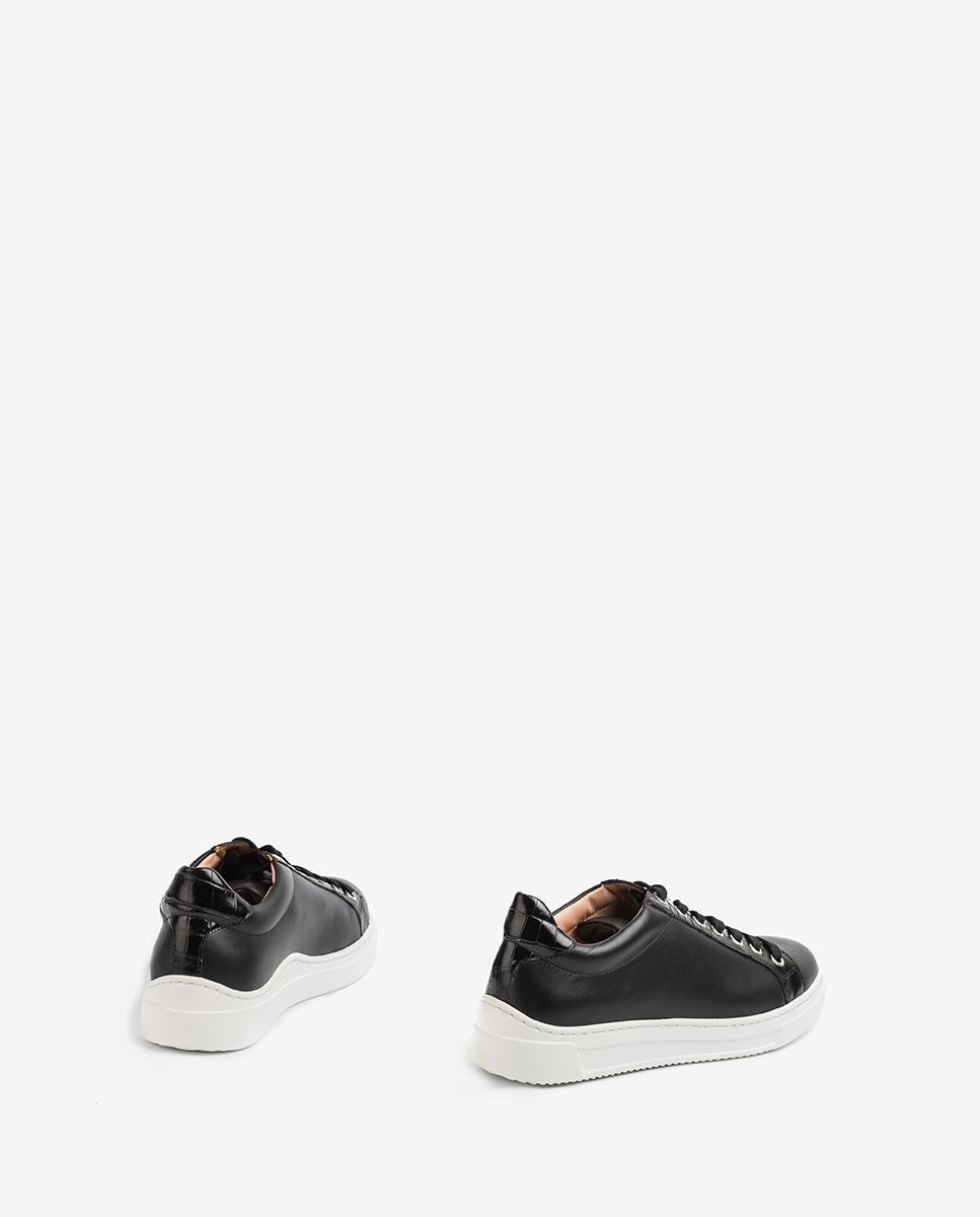 UNISA Leder-Sneaker mit Details in Kroko-Optik FRANCI_20_NF_CRW black 5