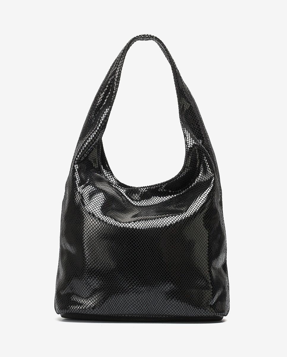 UNISA Große Tasche mit Schlangenprägung ZPIRO_F20_STPY black 5
