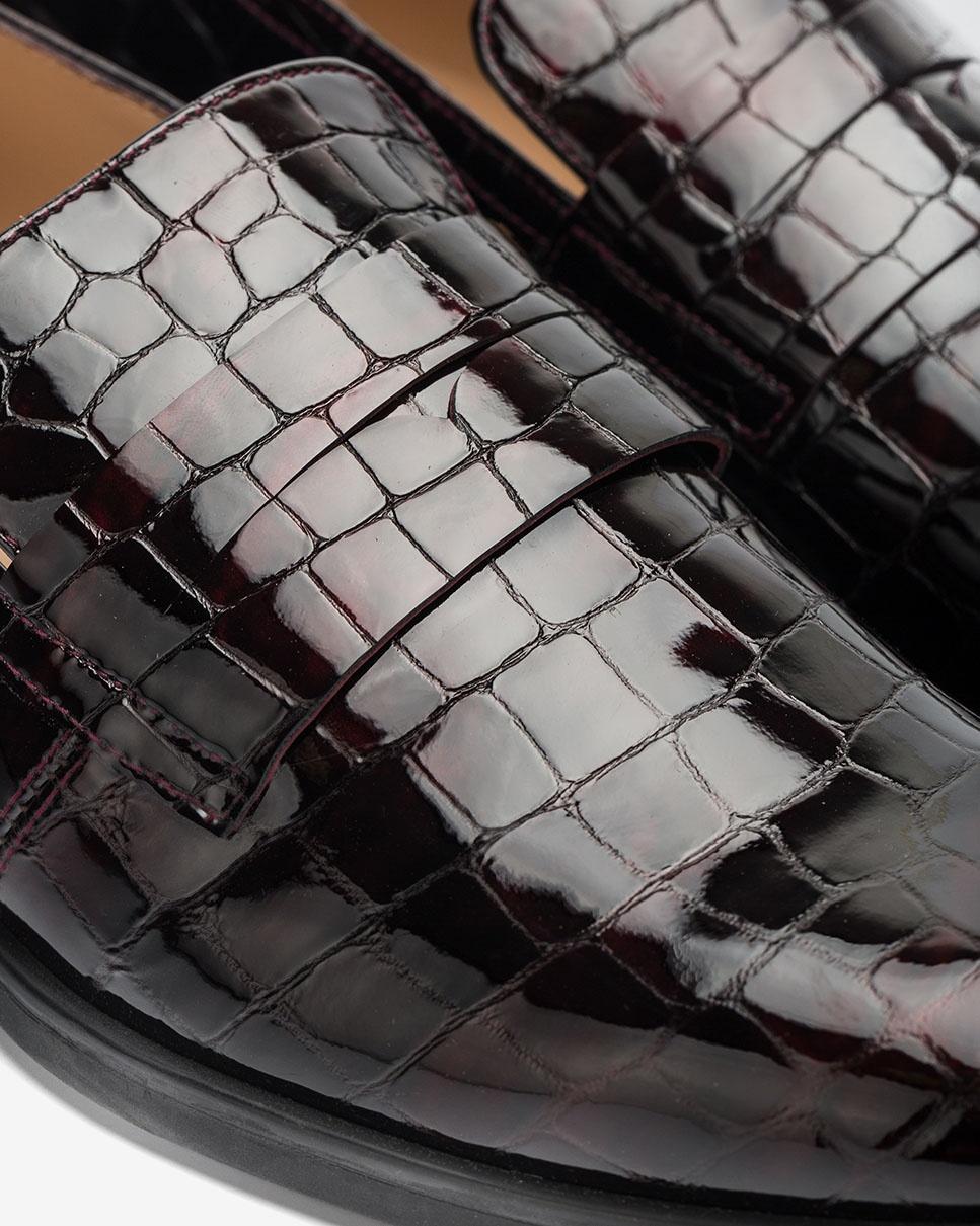 UNISA Bordeauxfarbene Lackledermokassins in Kroko-Optik BARBER_CSH grape 5