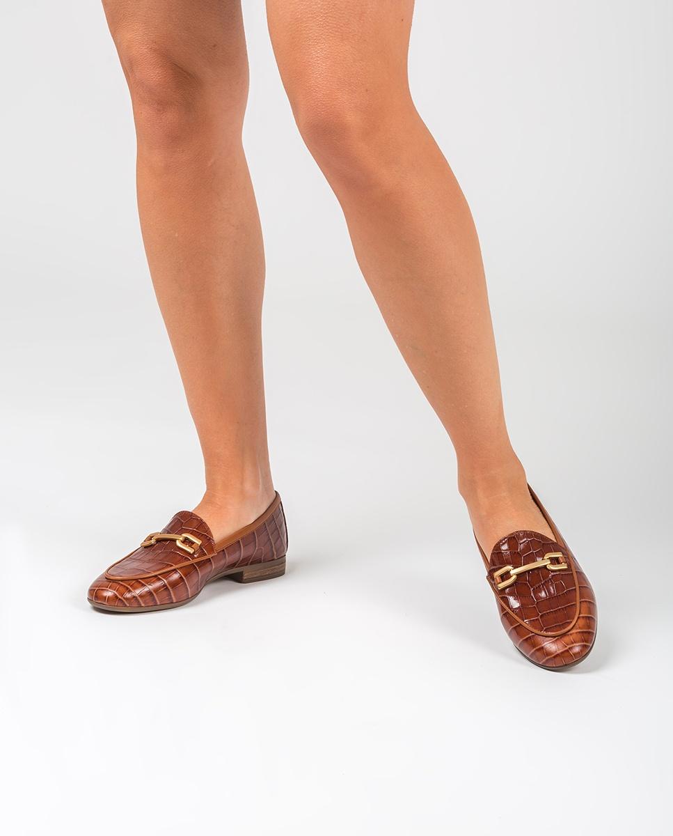 UNISA Mokassins aus Leder mit Kroko-Optik DALCY_CRW saddle 5
