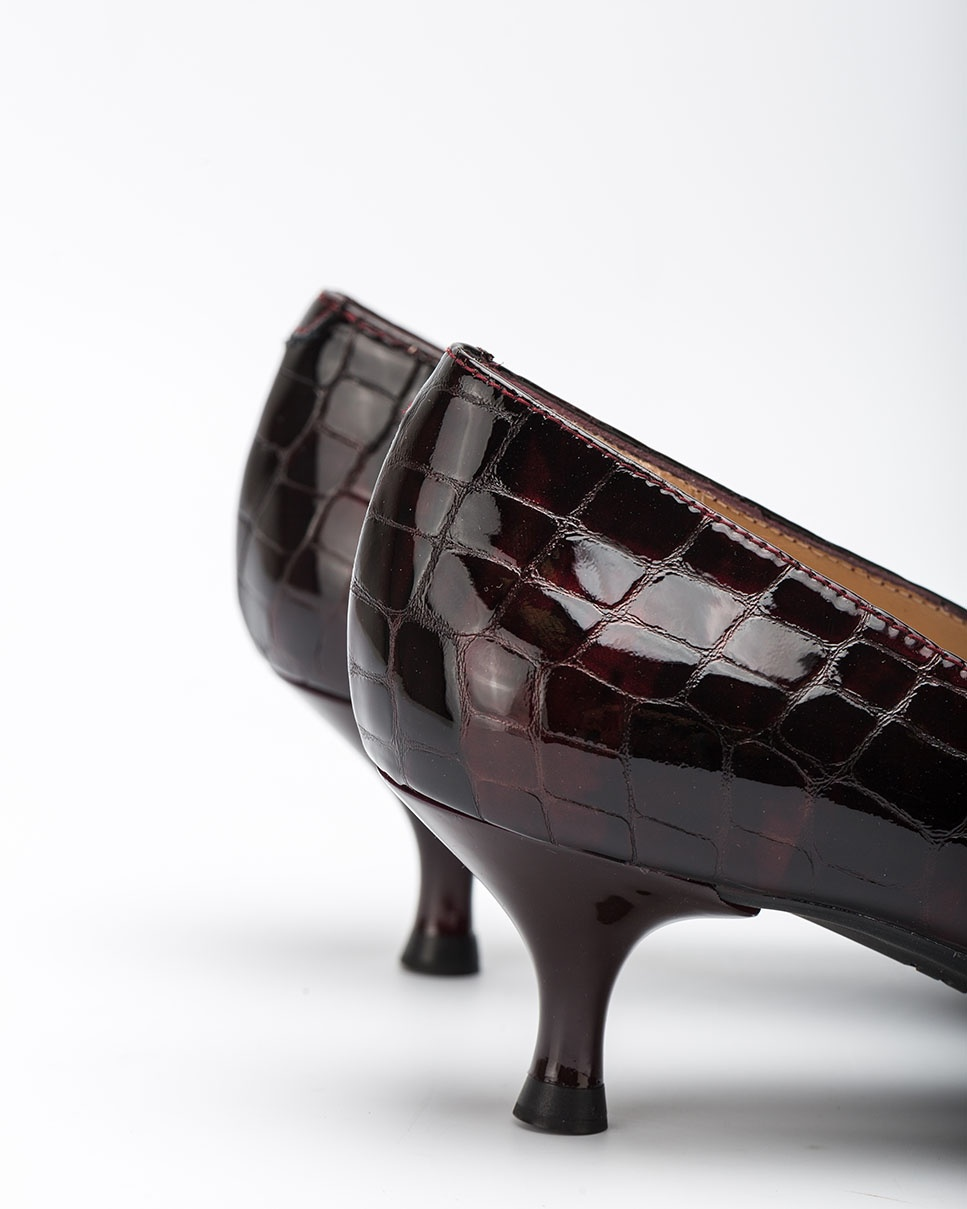 UNISA Bordeauxfarbene Lacklederpumps in Kroko-Optik JIRON_F20_CSH grape 5