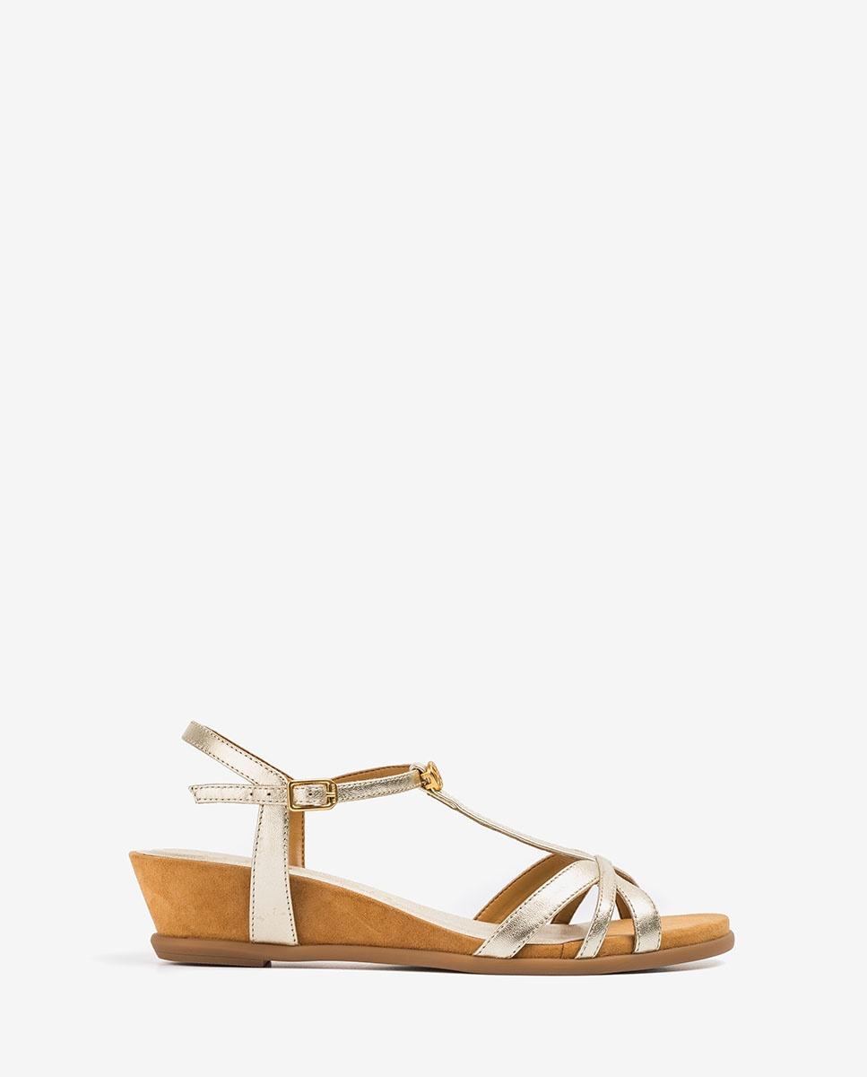 UNISA Goldene Sandalen mit Monogramm BINAR_LMT platino 5