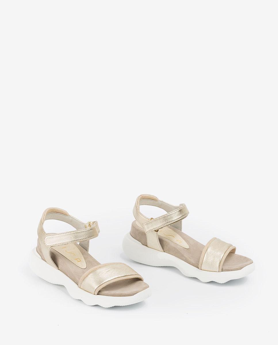 UNISA Sportliche Sandalen aus Metallic-Leder BOLO_LMT platino 5
