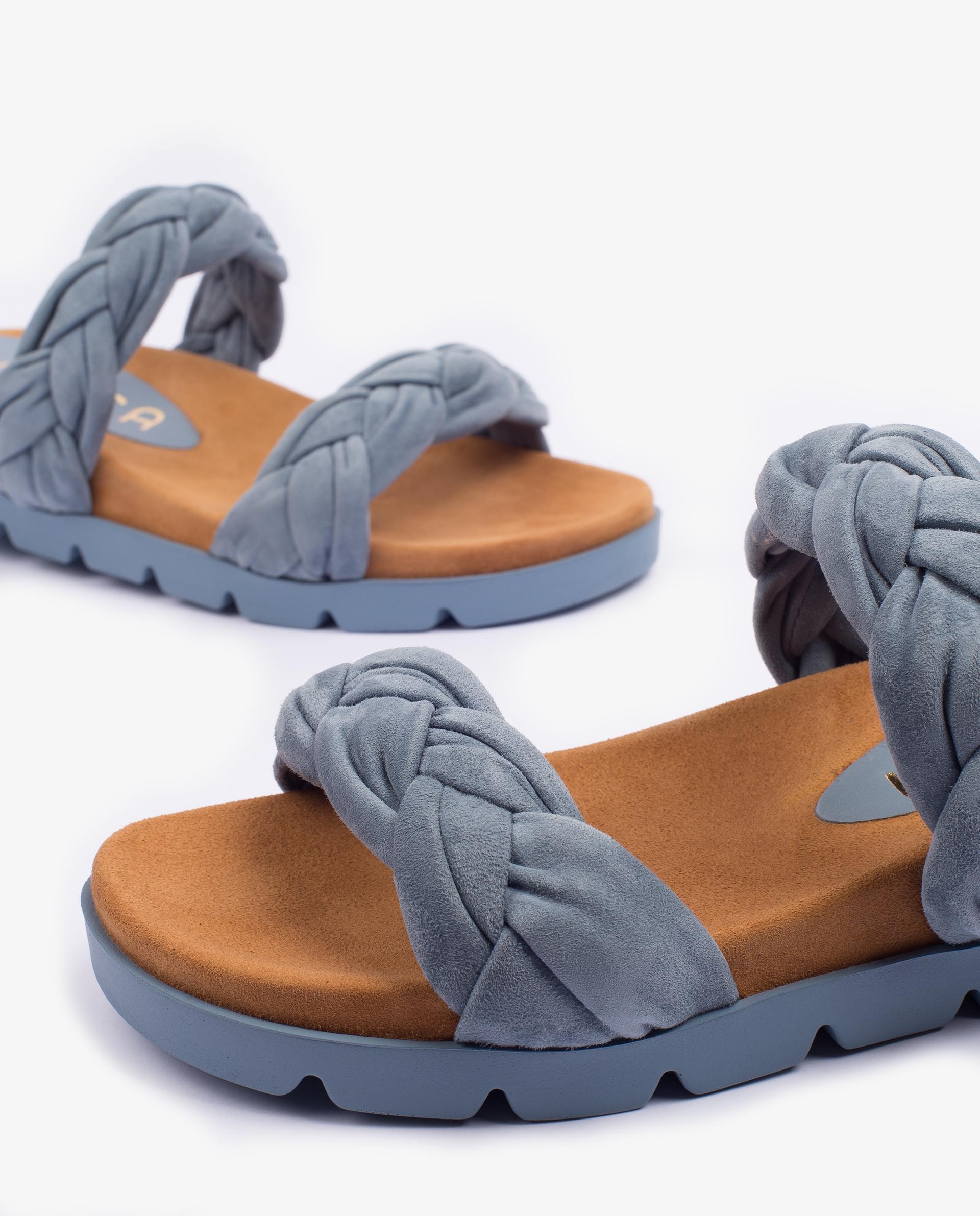 UNISA Flat kid suede sandals with braided straps CAIRO_KS 5