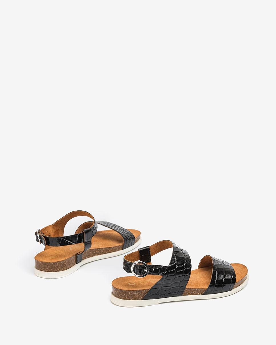 UNISA Flache Sandalen in Kroko-Optik CANOVAS_CRW black 5