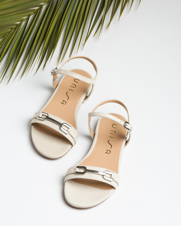 UNISA Flache Sandalen aus glänzendem Leder CARITA_GCR ivory 5