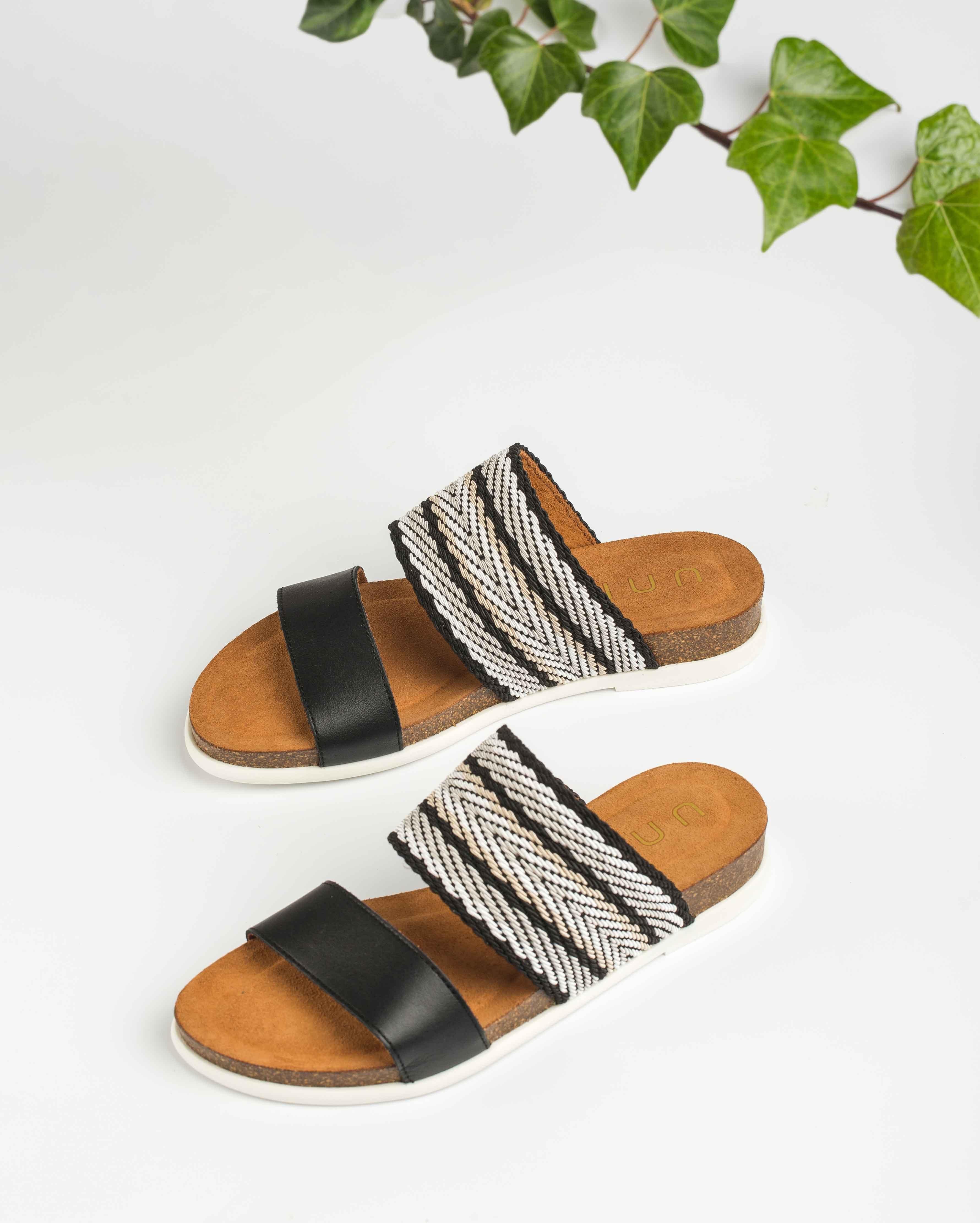UNISA Pantoletten mit kontrastierenden Bändern CASARES_NF black 5