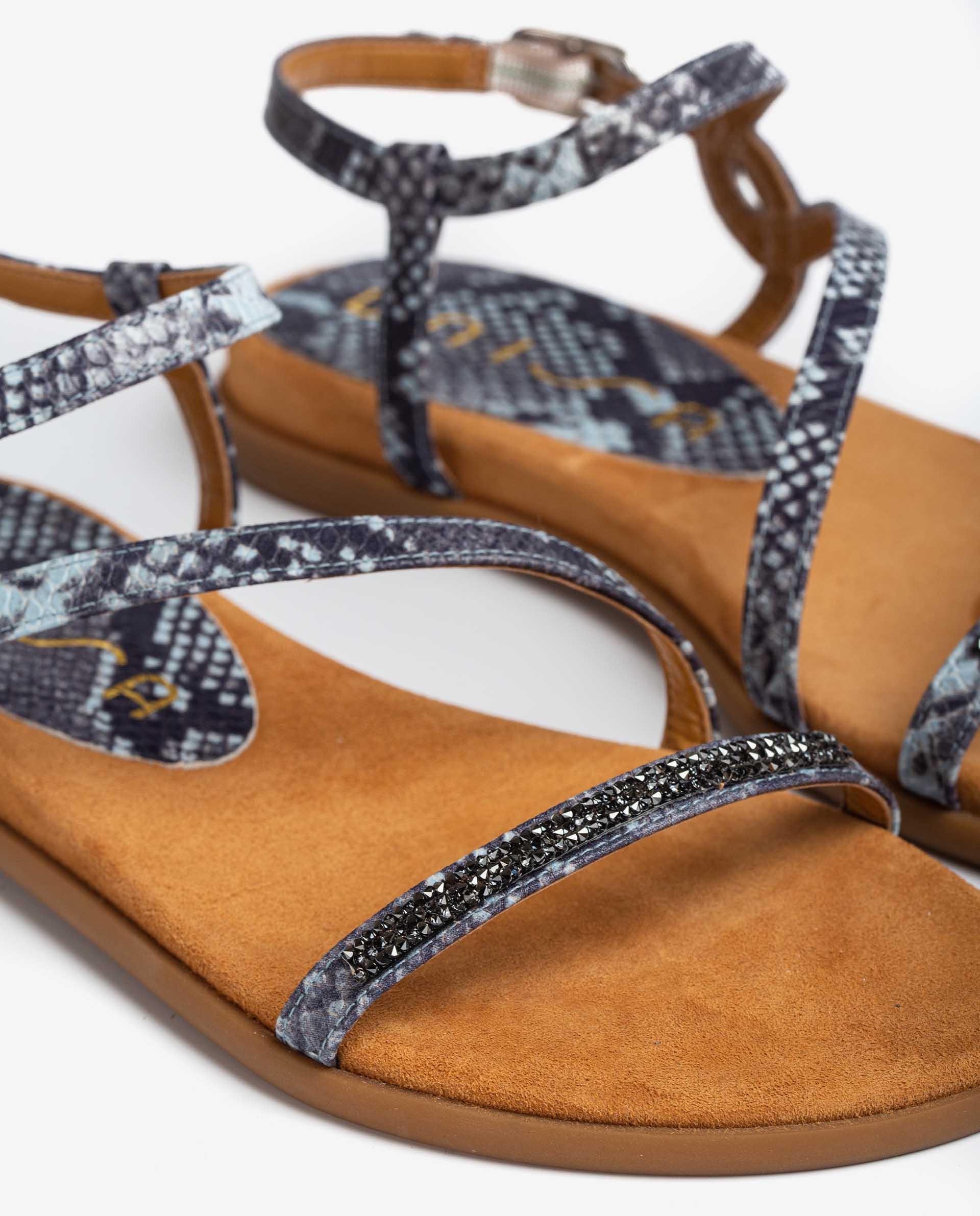 UNISA Leder-Sandalen mit Snake-Print und Strass CLARIS_21_VIP 5