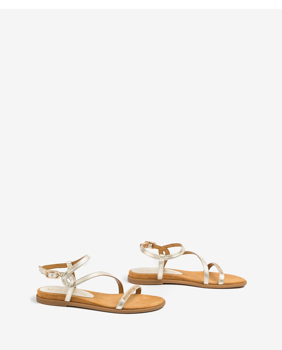 UNISA Flache goldene Sandalen mit Swarovski-Steinen CLARIS_LMT platino 5