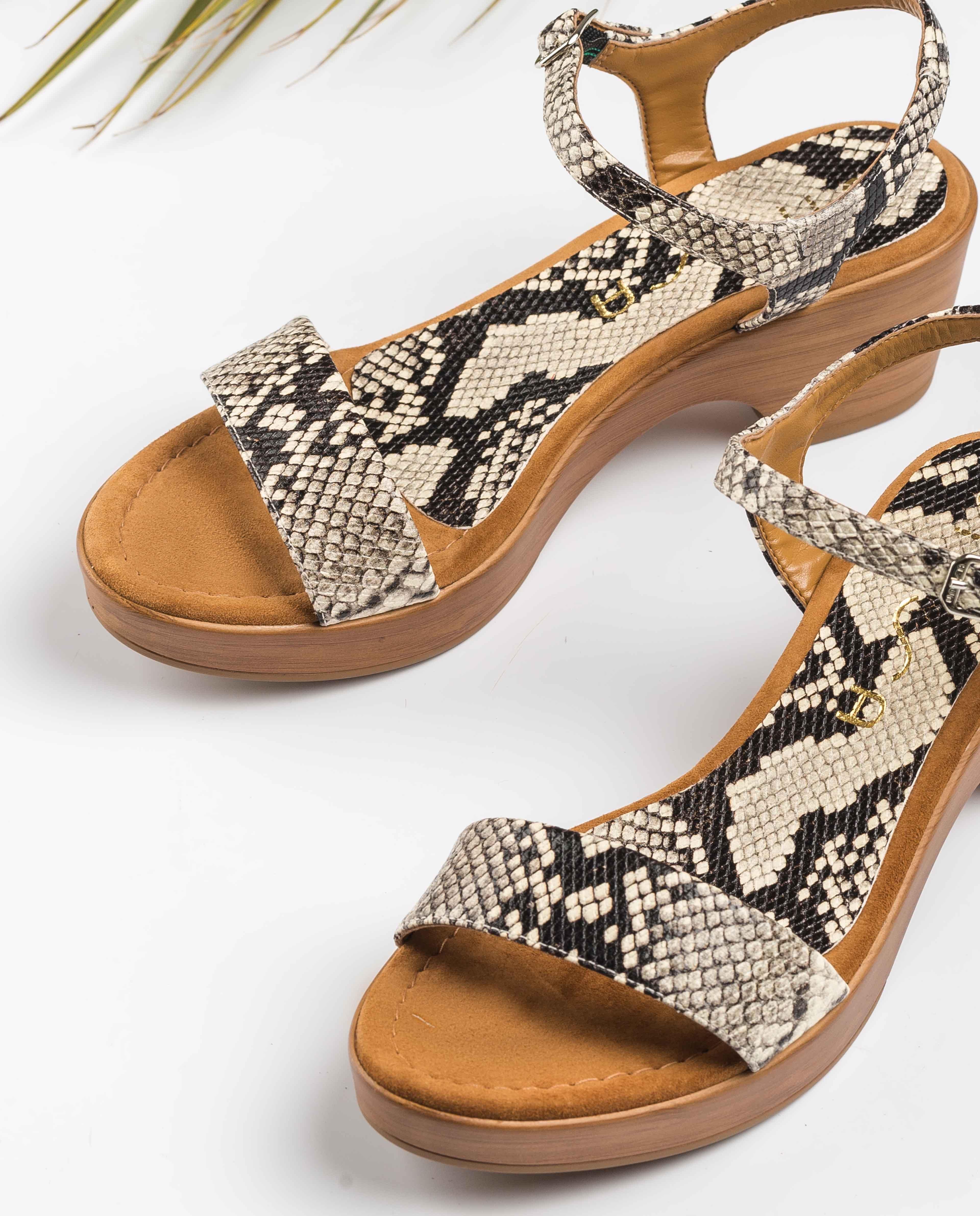 UNISA Block-Sandalen mit Snake-Print IRITA_20_VIP nacar 5