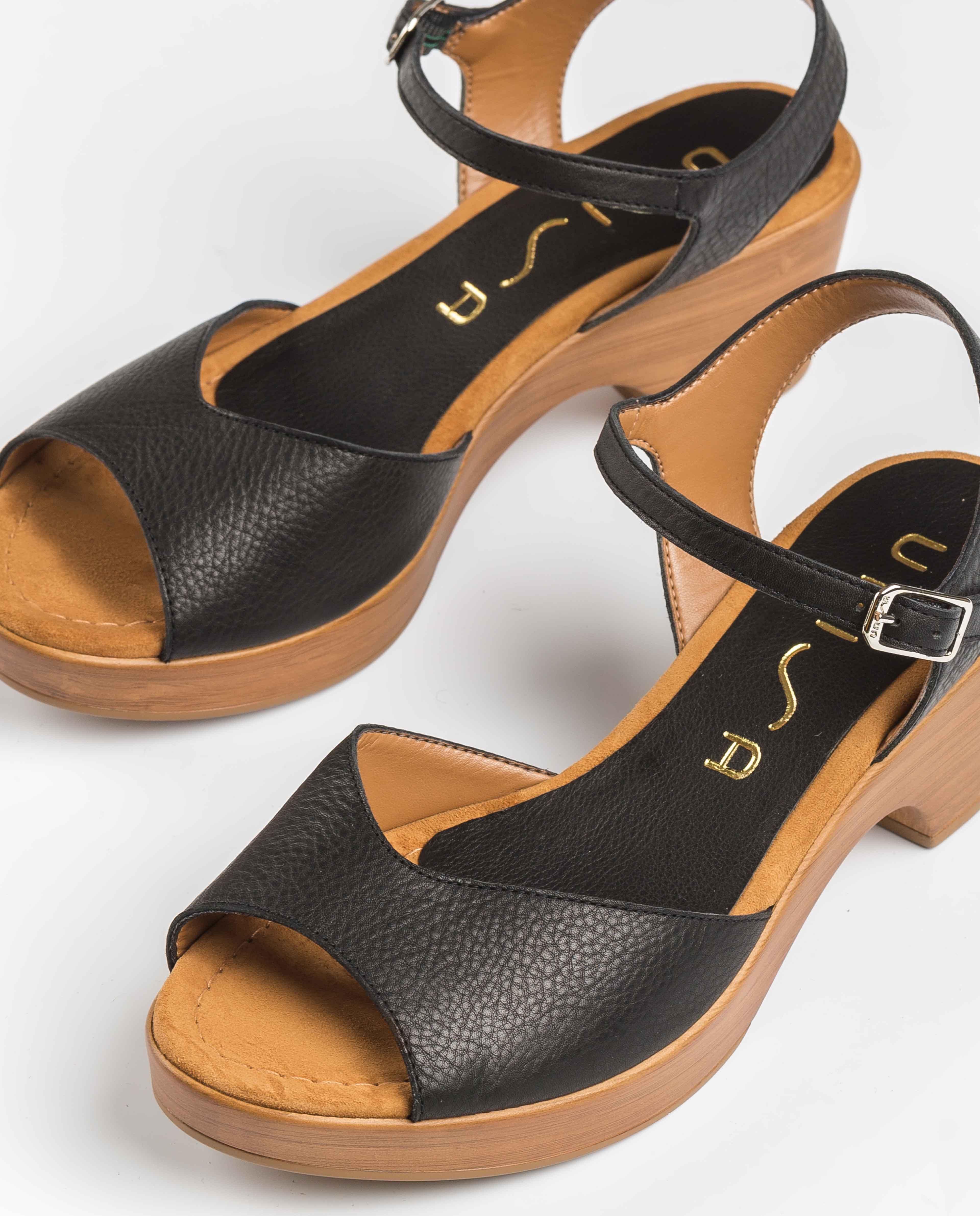 UNISA Block-Sandalen aus Leder ITACA_STY black 5