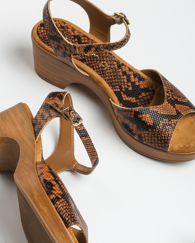 UNISA Block-Sandalen mit Snake-Print ITACA_VIP teka 5