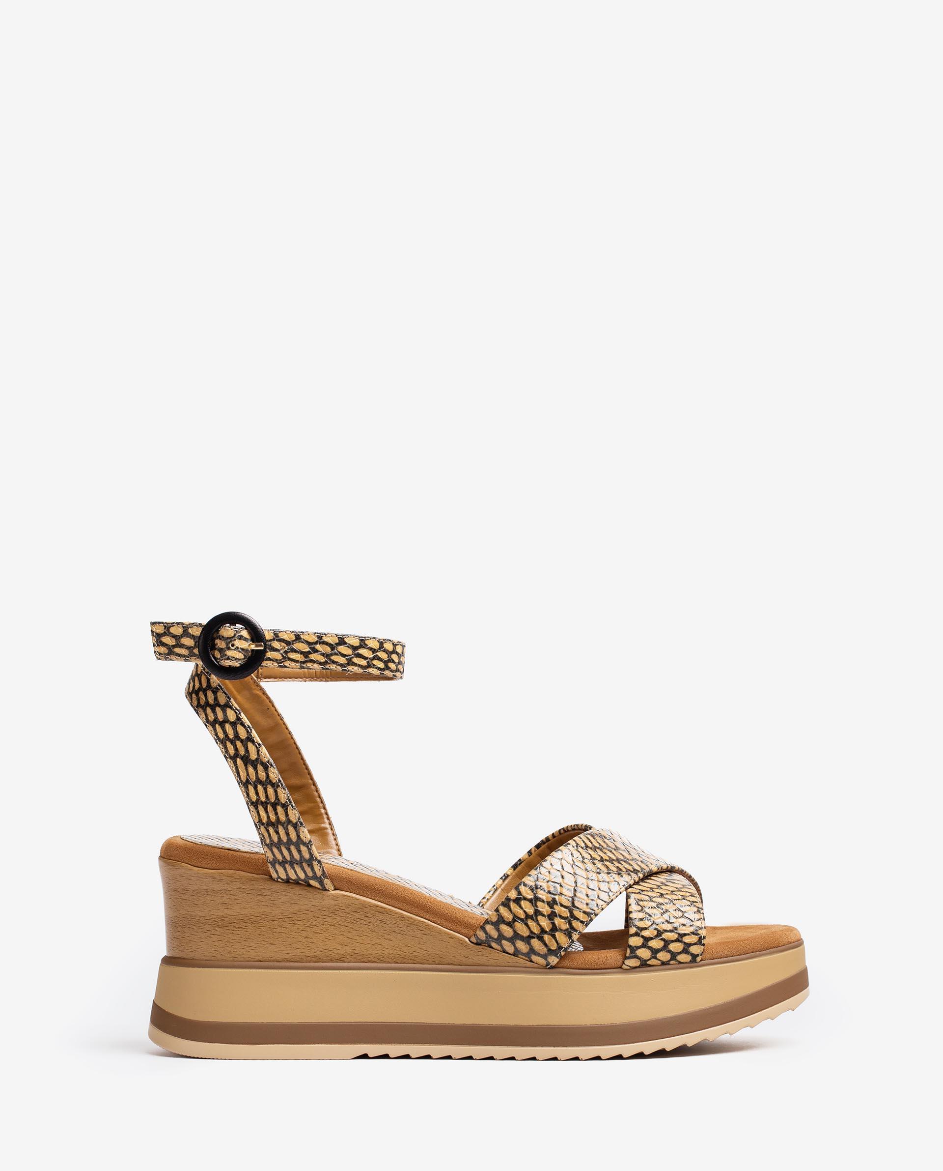 UNISA Sandalen aus Leder mit Snake-Print und Sportsohle KADIO_MA 5