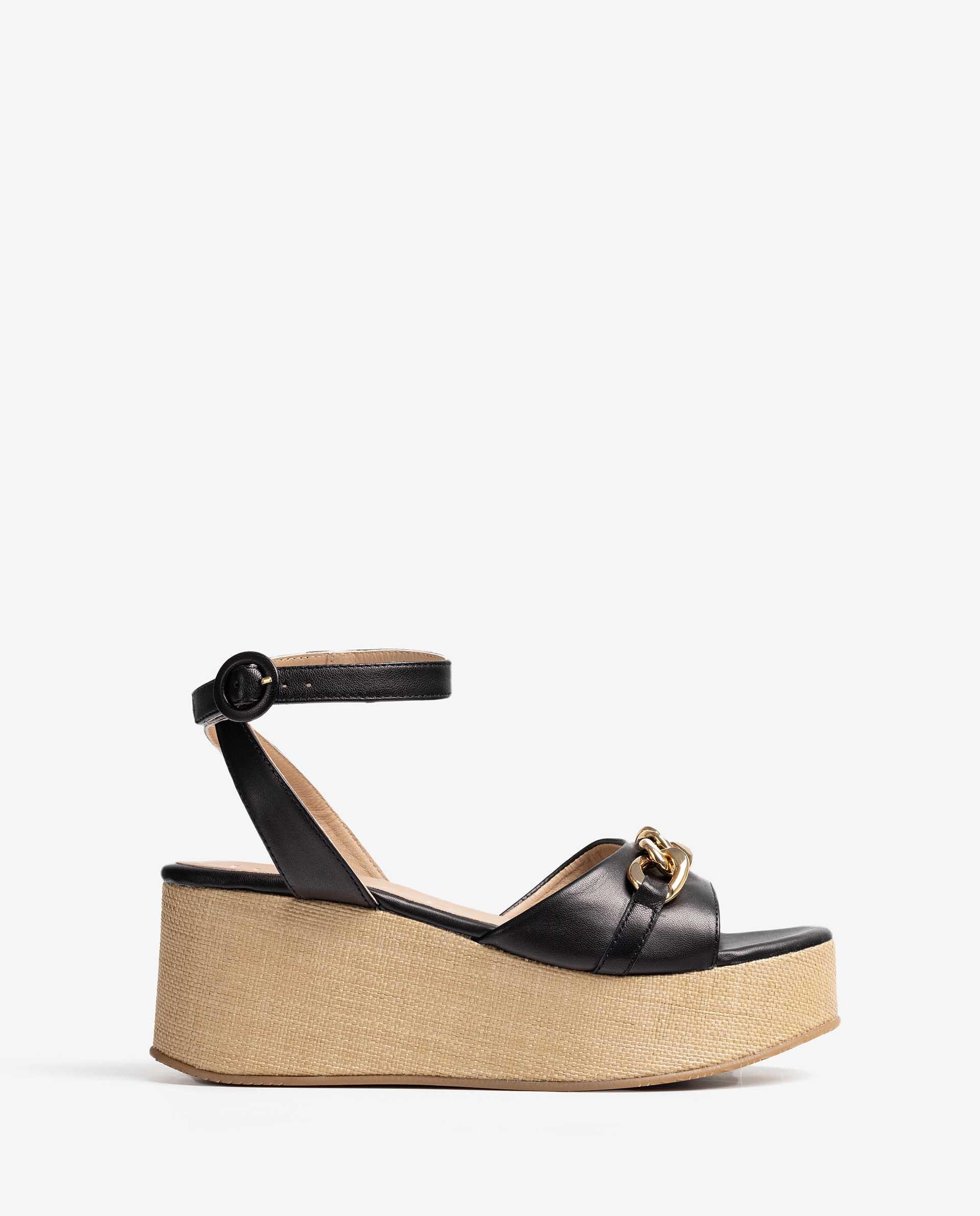 UNISA Raffia sandals with chain detail. LIBEYA_VU 5