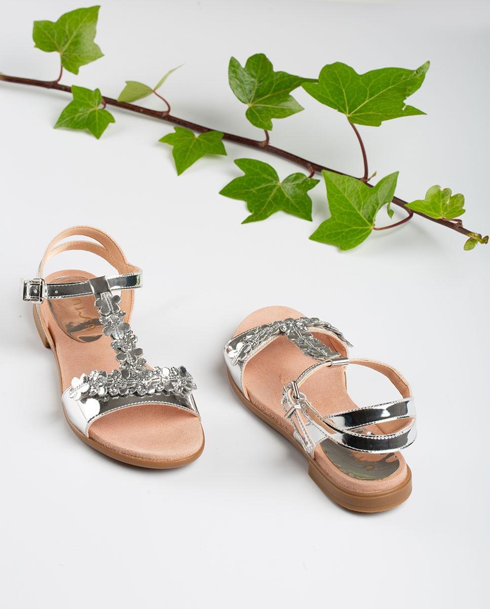 UNISA Silberne Mädchensandalen mit Blüten LOSAN_C_SP silver 5
