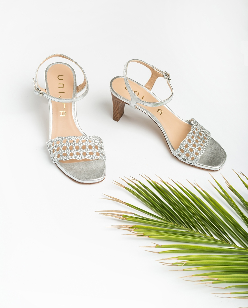 UNISA Sandaletten im Makramee-Stil mit Metallic-Effekt MAXWEL_LMT silver 5