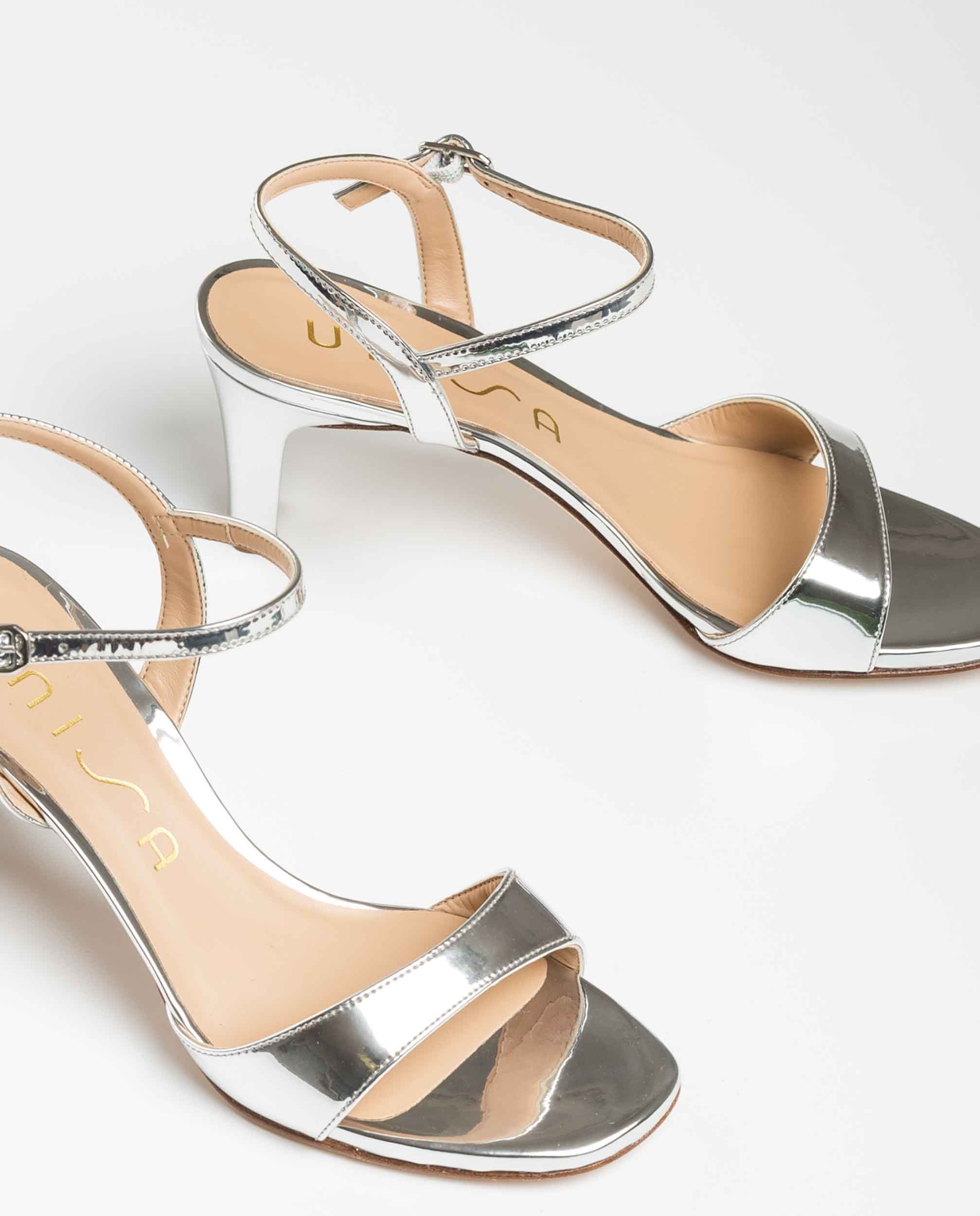 UNISA Silberne Sandaletten mit mittelhohem Absatz MECHI_SP silver 5