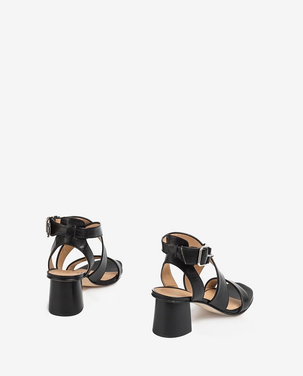 UNISA Sandaletten mit über dem Spann gekreuzten Riemen und Holzabsatz MINER_GCR black 5