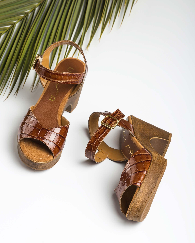 UNISA Sandalia marrón cocodrilo OTTIS_CRW saddle