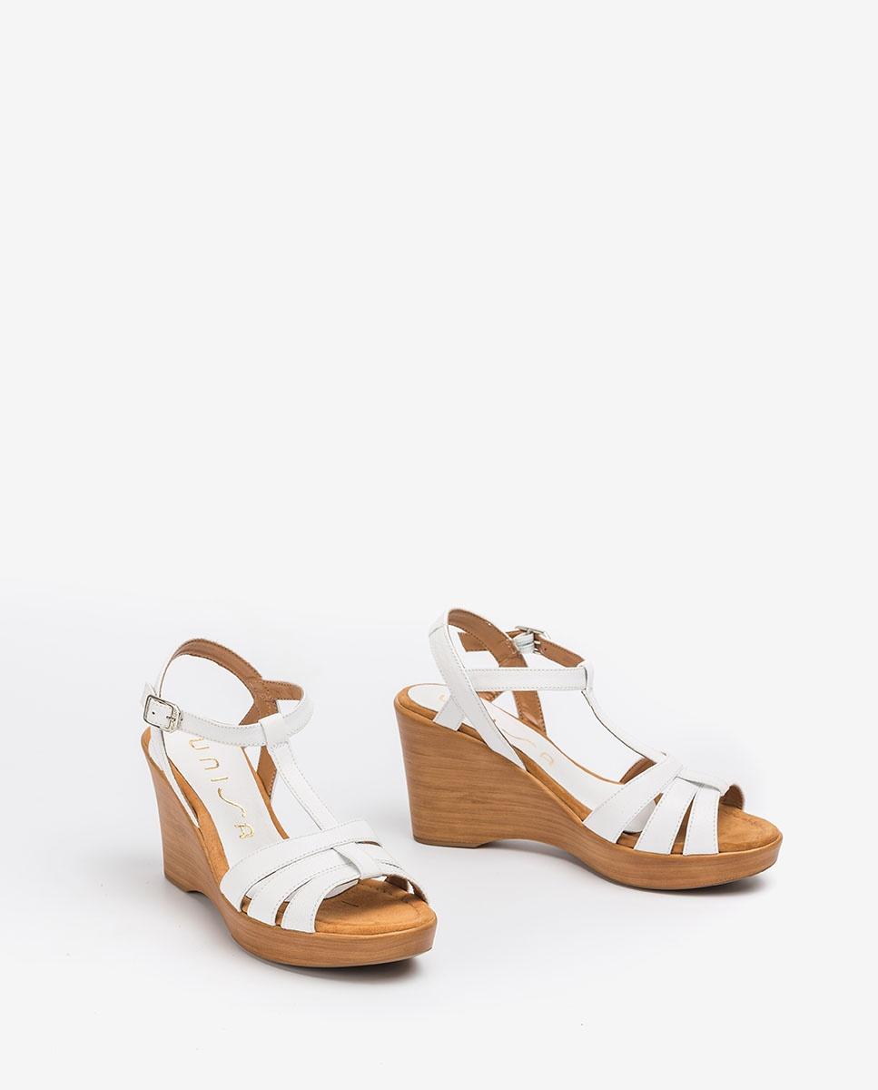 UNISA Weiße T-Strap-Sandalen RAMOS_GCR white 5