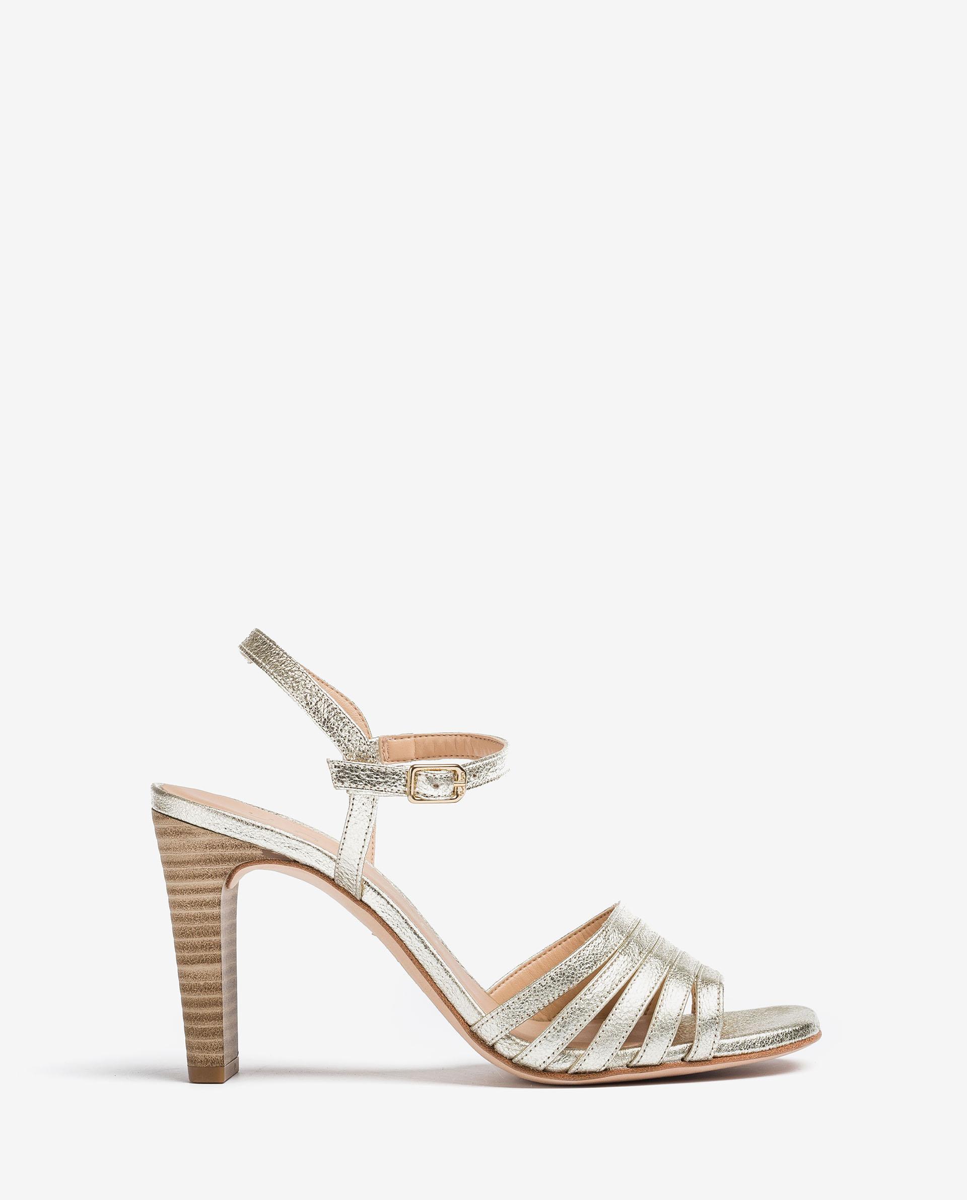 UNISA Heel-Sandalen aus Leder mit Metallic-Effekt SALDES_SE 5
