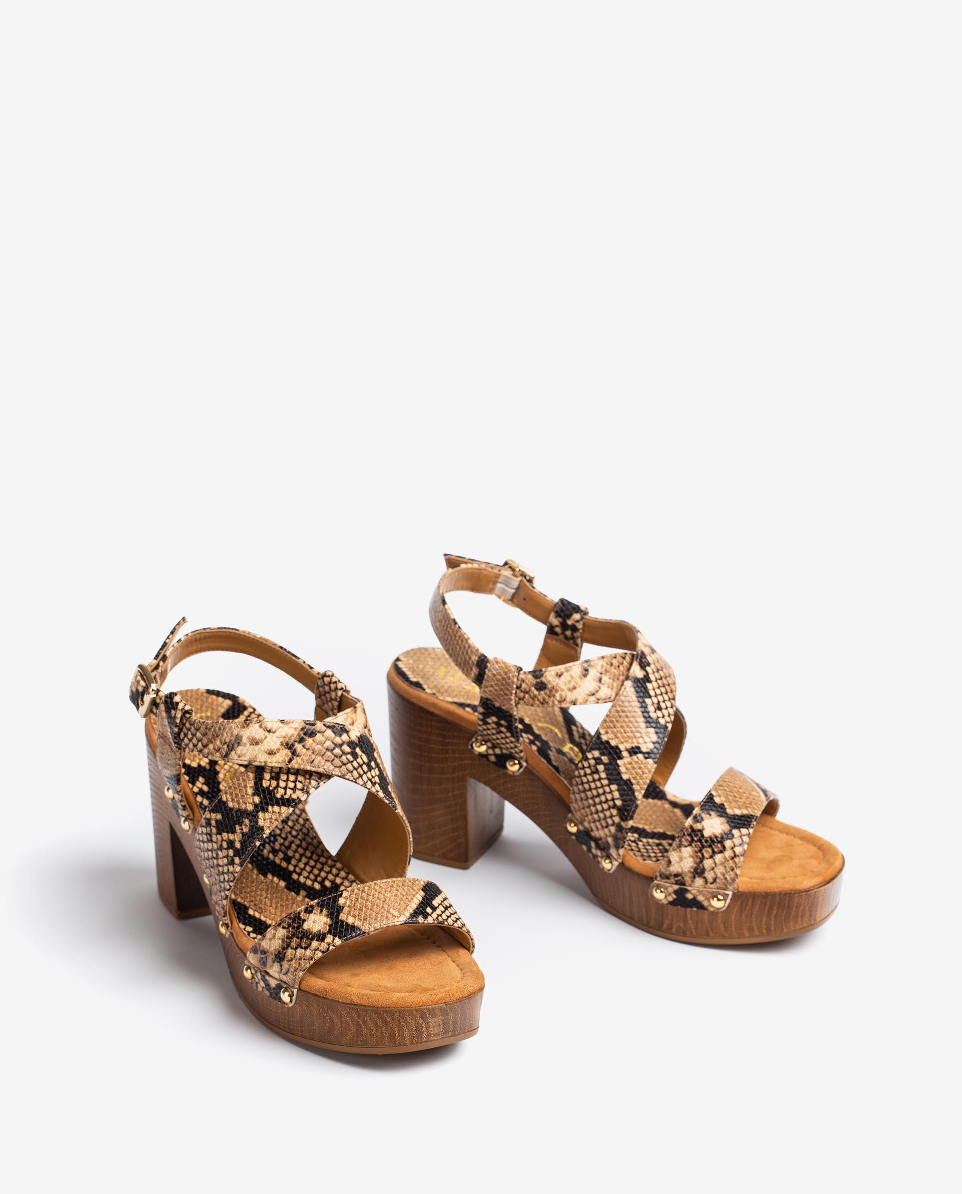 UNISA Sandalen aus Leder mit Snake-Print und Blockabsatz TERRAT_21_VIP 5
