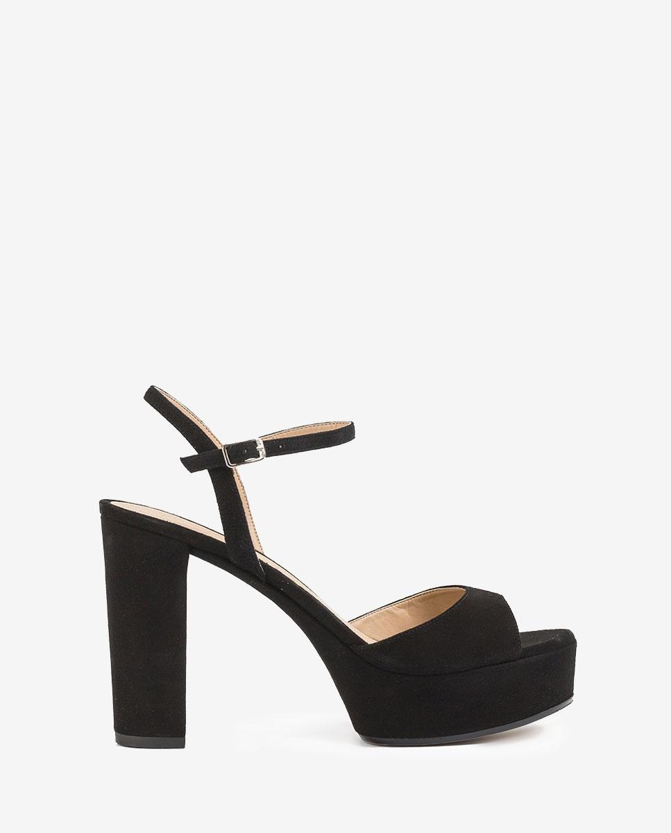 UNISA Schwarze Sandaletten mit Absatz und Plateau VEGARA_KS black 5