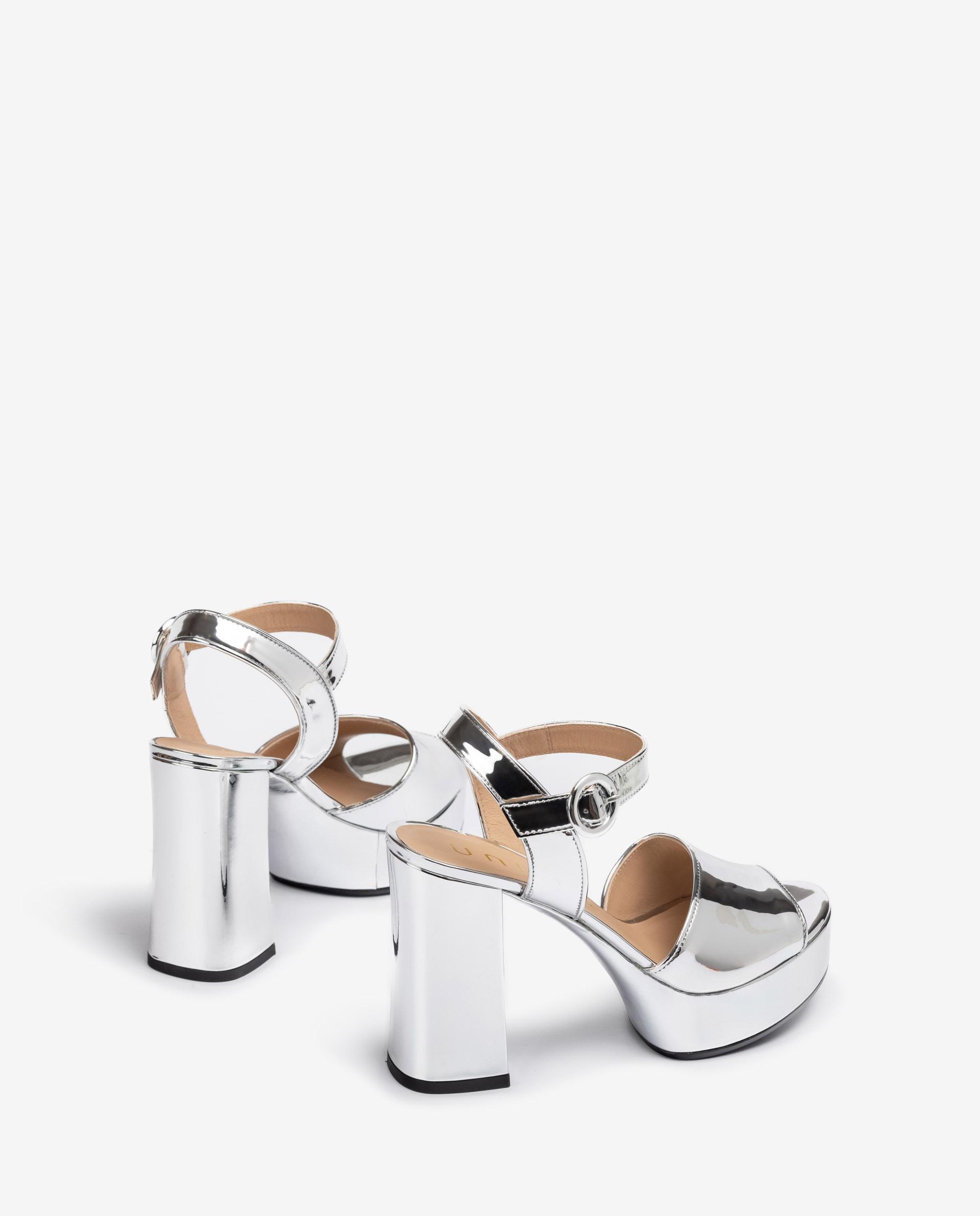 UNISA Sandalen aus Leder mit Spiegeleffekt, Absatz und Plateau VITEX_SP 5