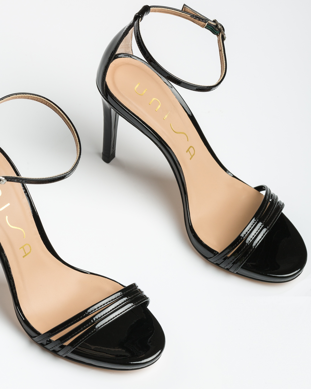 UNISA Schwarze Lackleder-Sandaletten mit Bändern YADIN_PA black 5